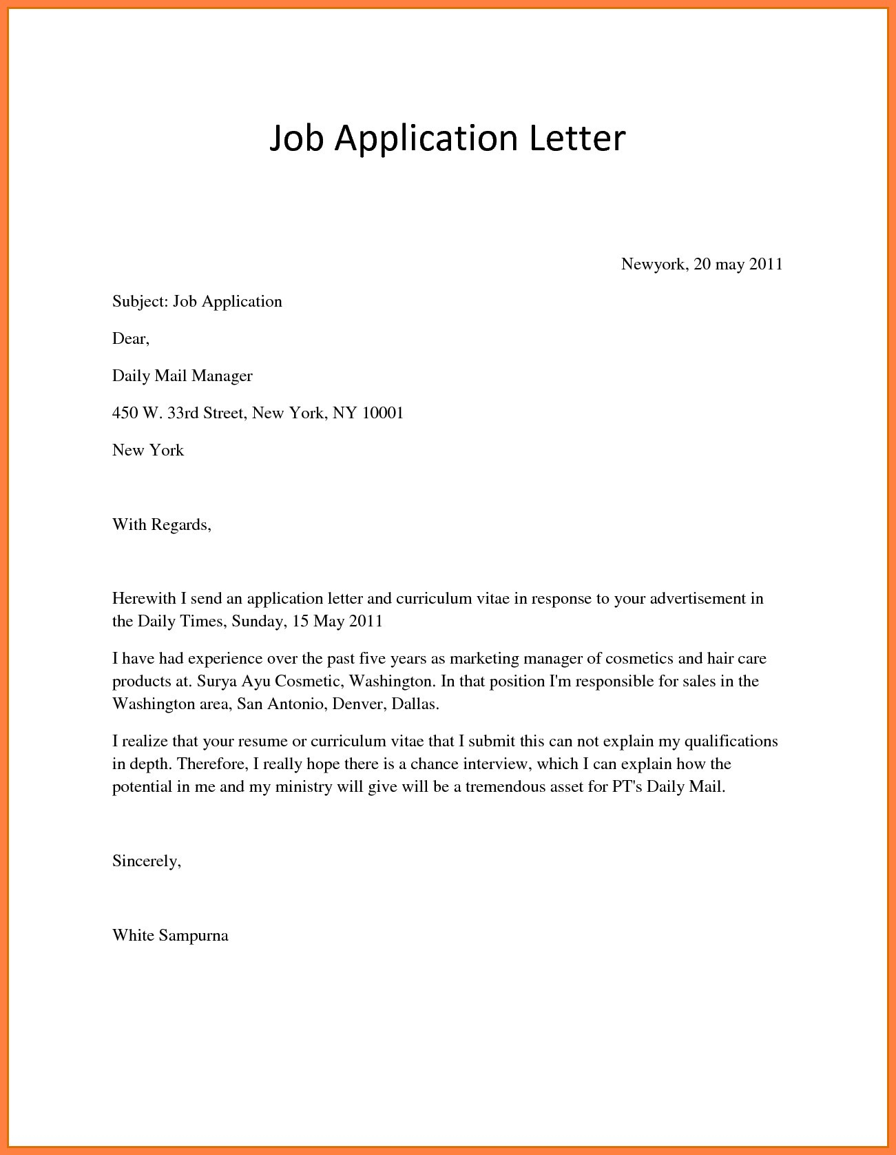 Opt Offer Letter Template - Examples An Employment Letter New Write Application for Job