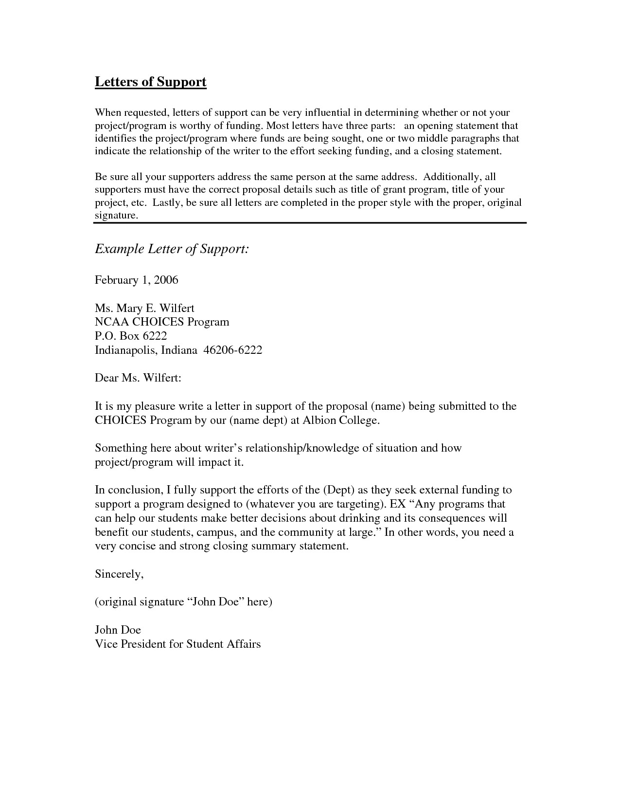 Letter Of Support Template for A Person - Examples Letters Support Letter Support Template