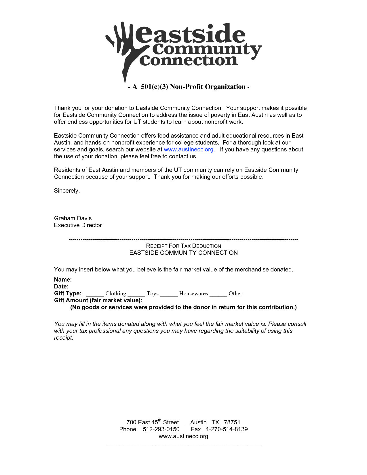 Non Profit Tax Deduction Letter Template - Exceptional Tax Donation Letter Template