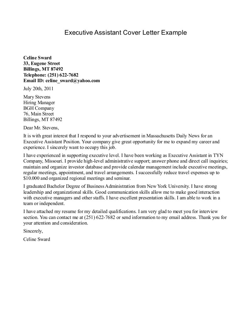 Secretary Cover Letter Template - Executive assistant Cover Letter Example Executive assistant Cover