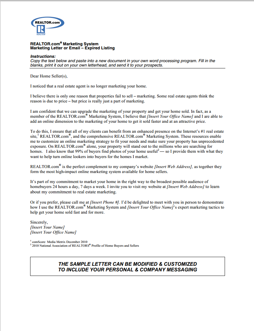 Real Estate Prospecting Letter Template - Expired Listing Letter Real Estate Pinterest