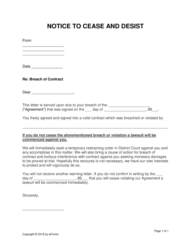 Cease and Desist Letter Breach Of Contract Template - Famous Breach Contract Template Resume Ideas Namanasa