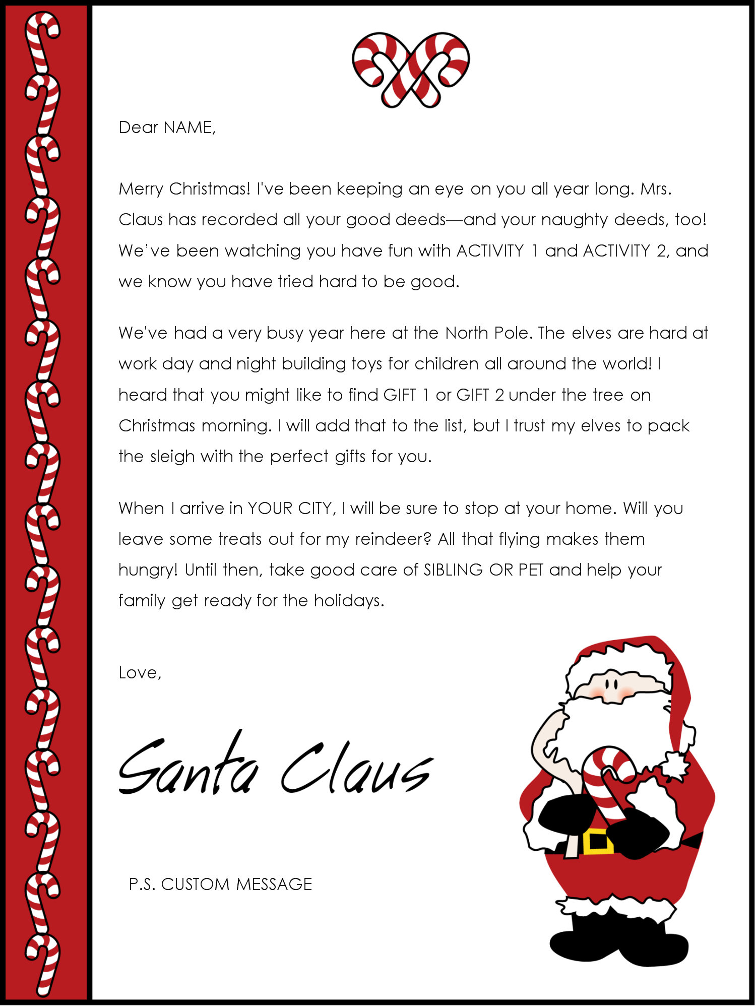 Custom Letter From Santa Template - Father Christmas Letter Template Acurnamedia