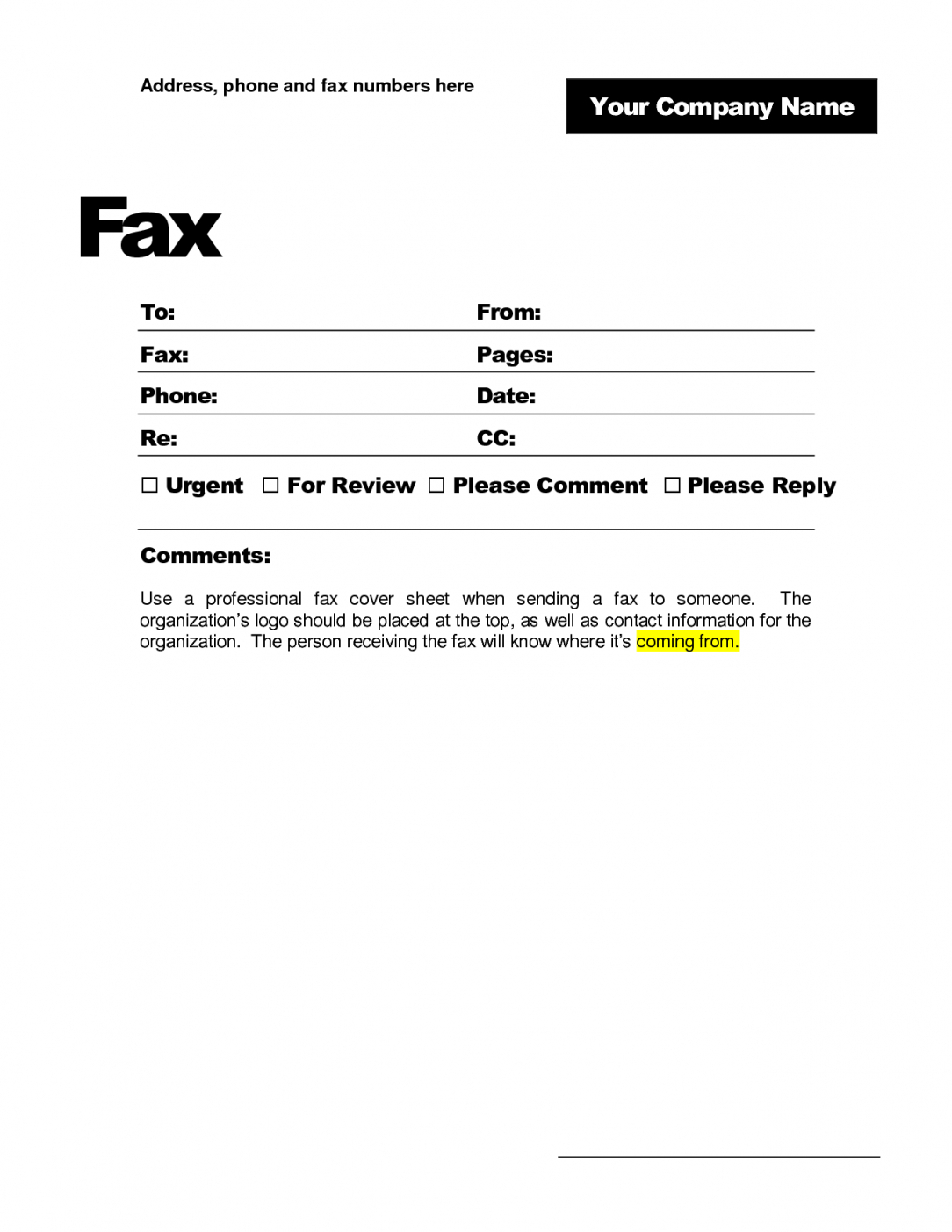 Microsoft Word Fax Cover Letter Template - Fax Cover Letter Doc Professional Business Fax Cover Sheet Sample