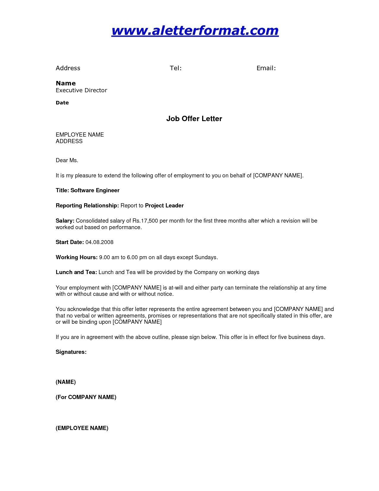 job offer letter template doc fer letter format doc india copy formal letter format sample