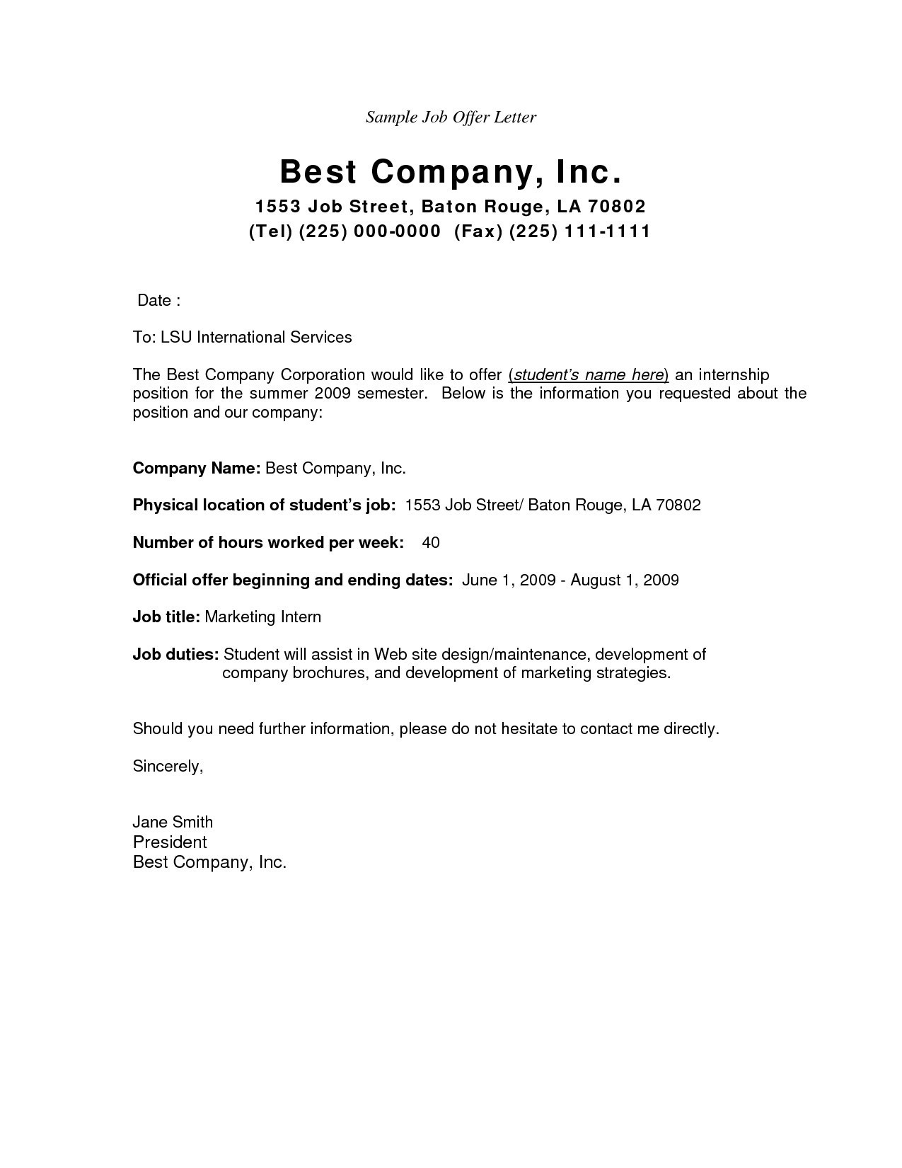 job offer letter template pdf fer letter format doc uae best appointment letter template best