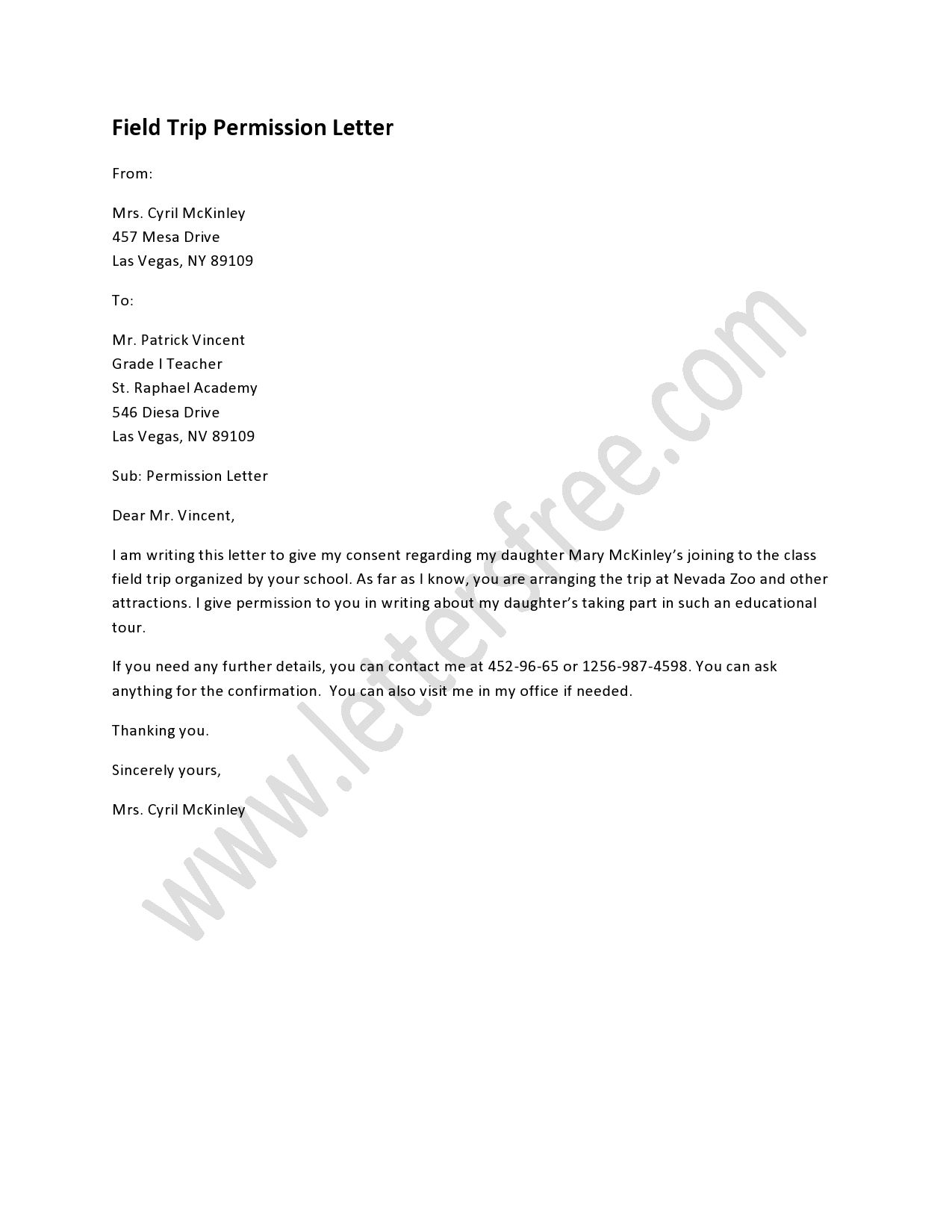 Field Trip Letter Template - Field Trip Permission Letter Pinterest