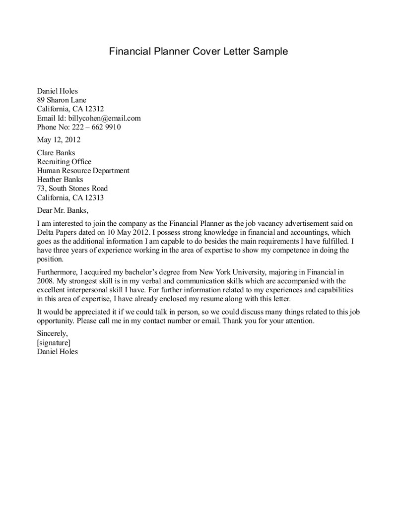 Financial Planner Cover Letters Letter Of Responsibility Template Samples