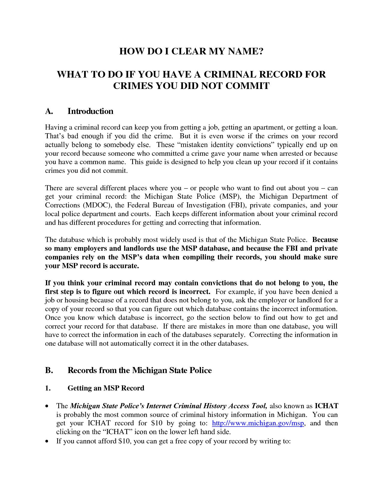 Public Record Removal Letter Template - Fingerprints Request Lettervolunteer Police Clearance Request Letter