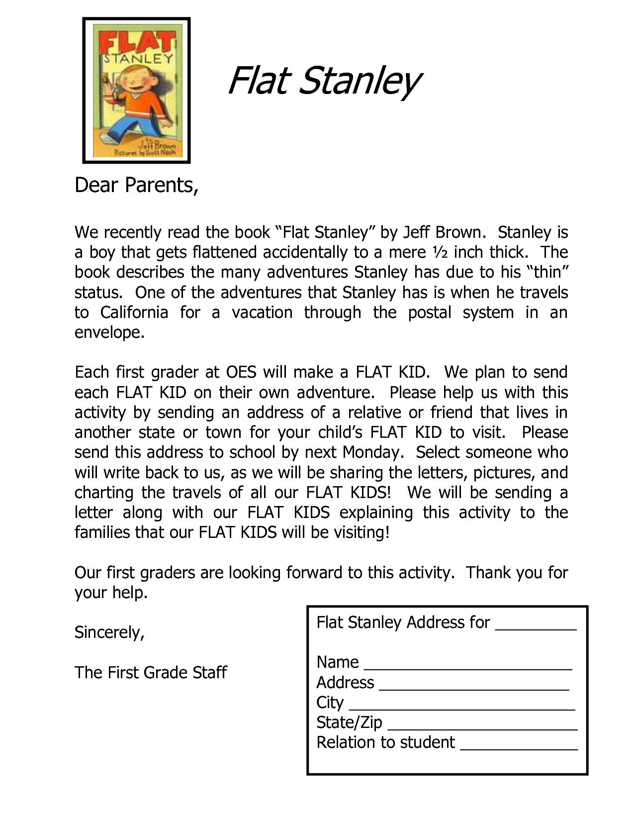 Flat Stanley Letter Template - Flat Stanley Letter Template Classroom