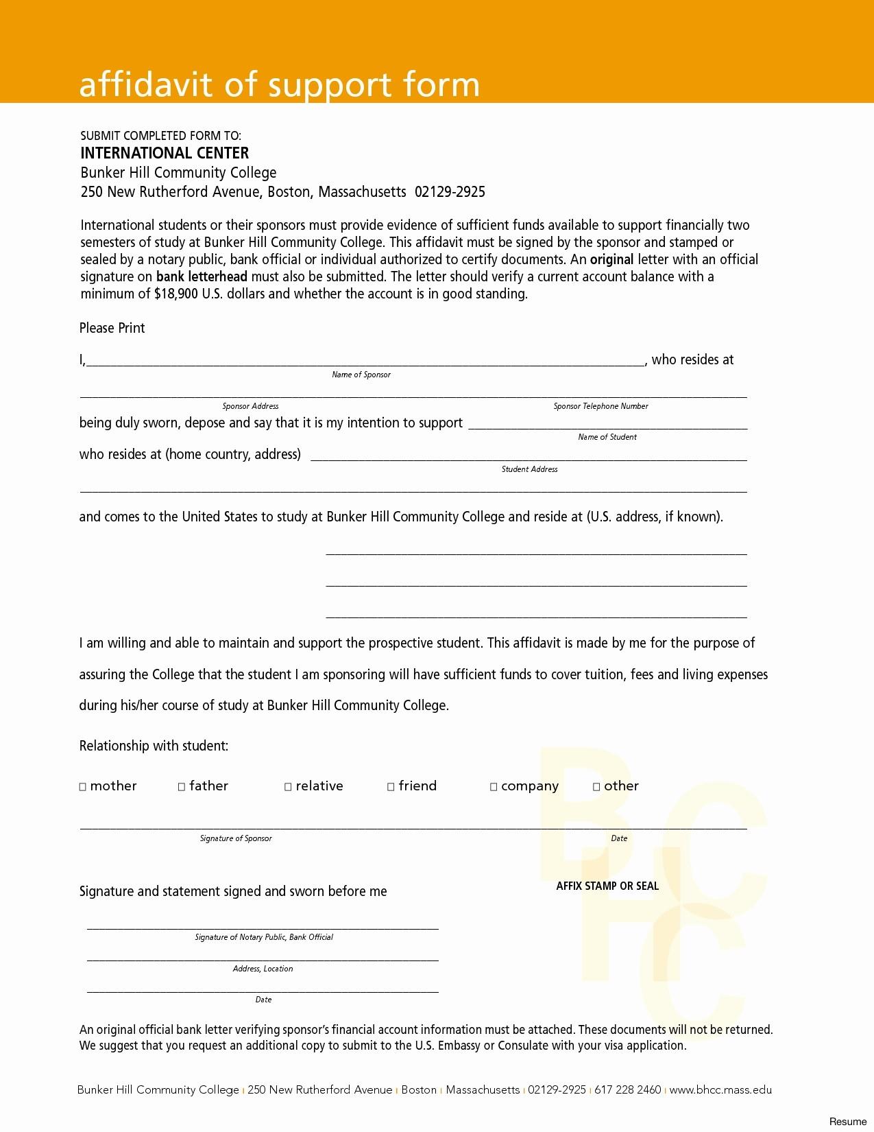 Affidavit Of Support Template Letter - form I 134 Affidavit Support Best 50 Fresh Letter Financial