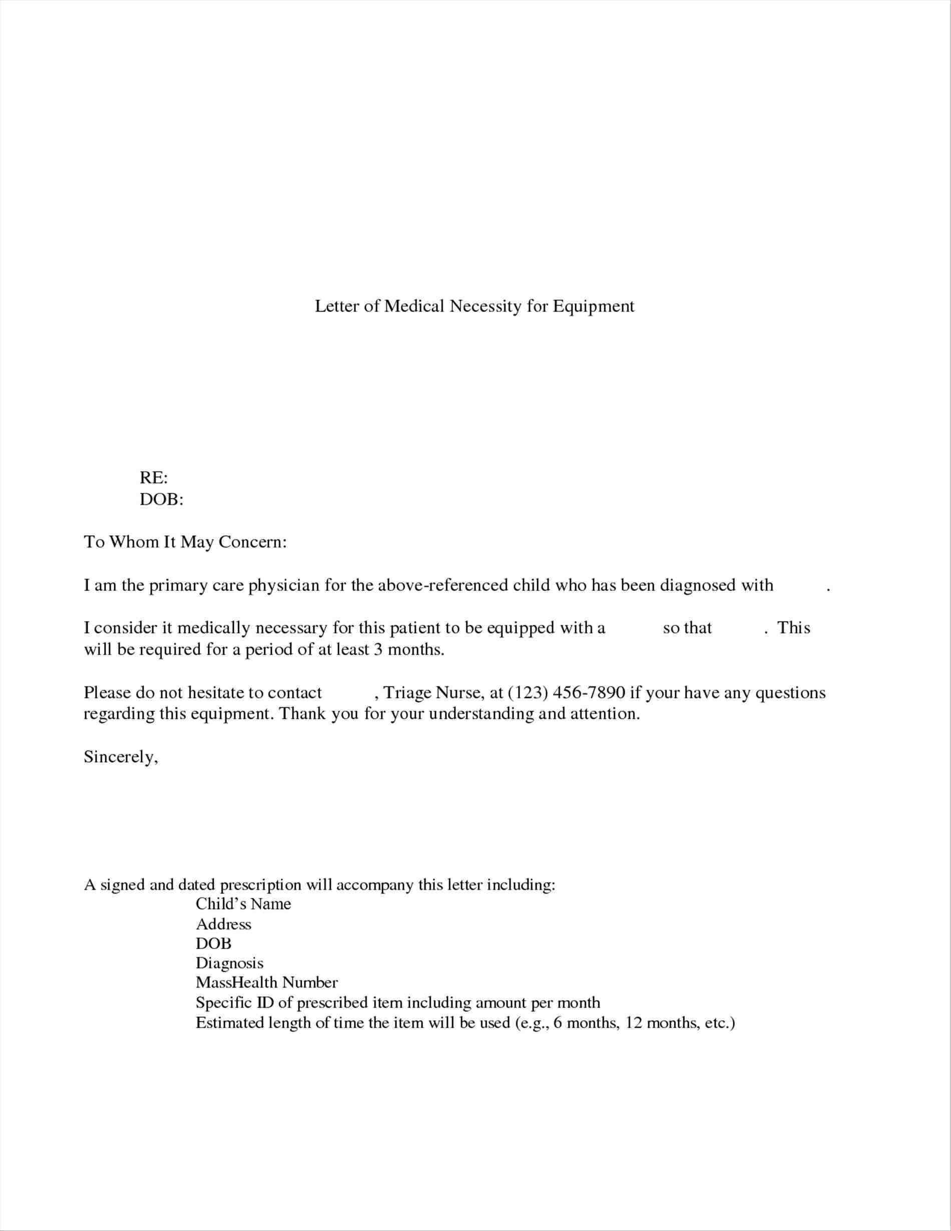 Doctor Diagnosis Letter Template - form Letter Medical Necessity Template Inspiring Letter Of
