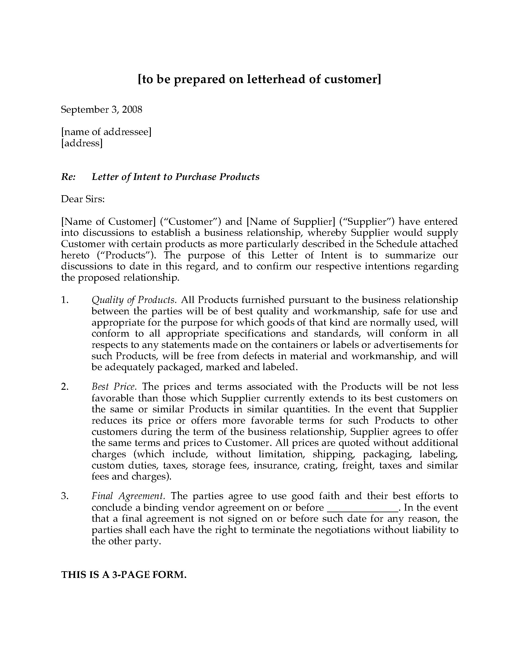 Construction Letter Of Intent Template - form Of Letter Of Intent Acurnamedia