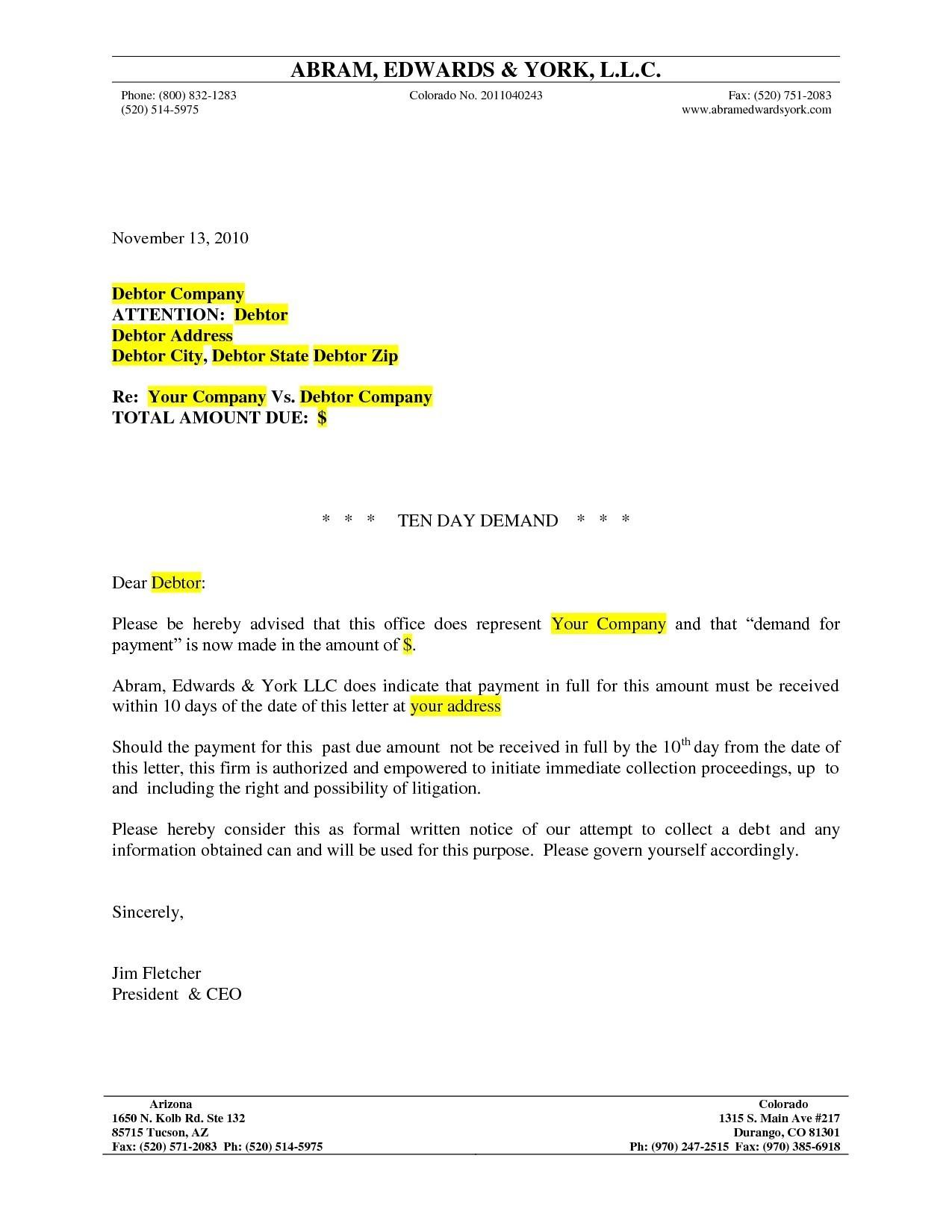 formal demand letter template formal letter format legal best lawyer demand letter sample formal