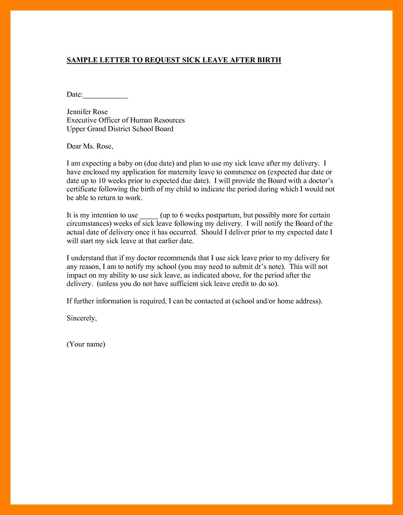 Personal Leave Of Absence Letter Template - formal Letter format to College Principal Fresh School Leave Letter