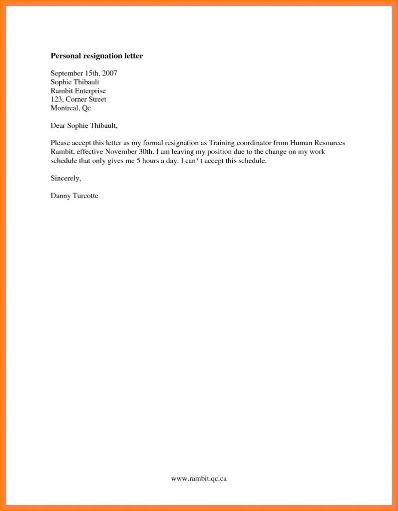 Resignation Letter Template Free - formal Resignation Letter Recordplayerorchestra
