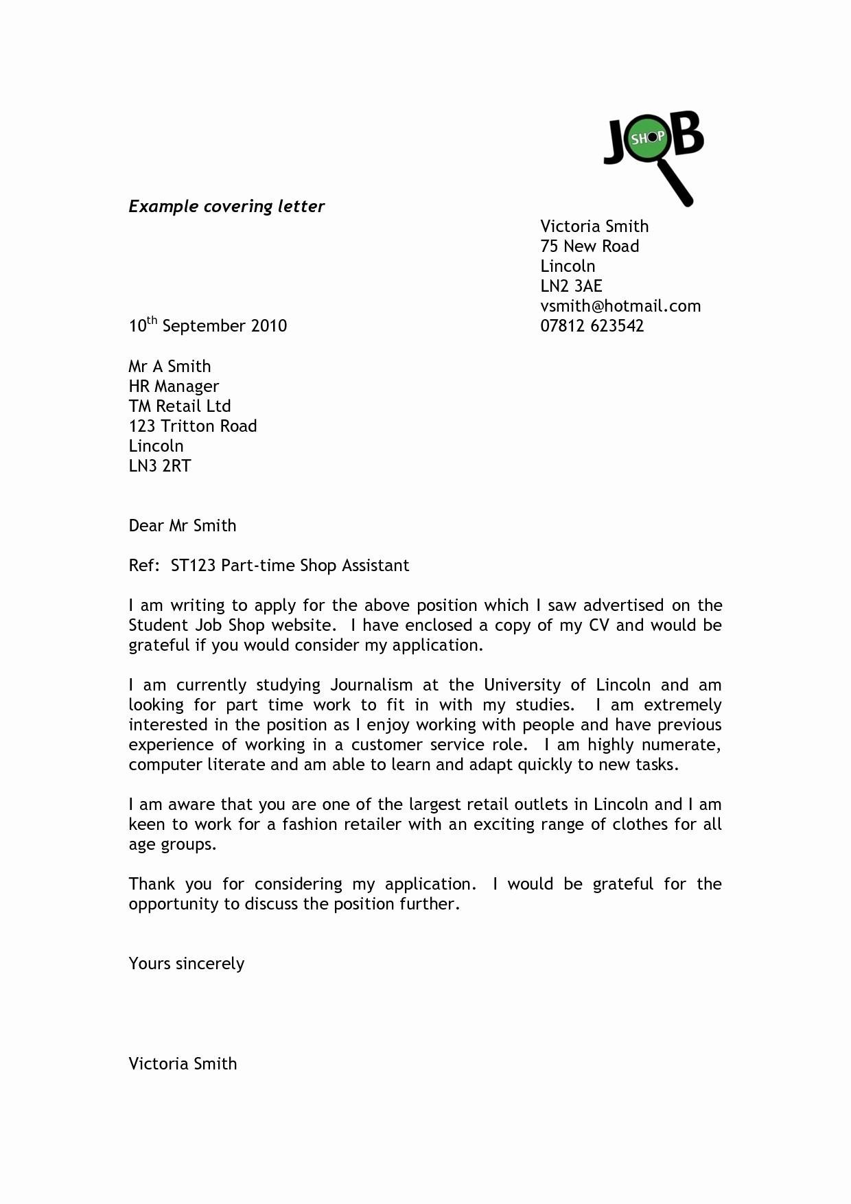 Job Application Cover Letter Template Word - format Covering Letter for Cv