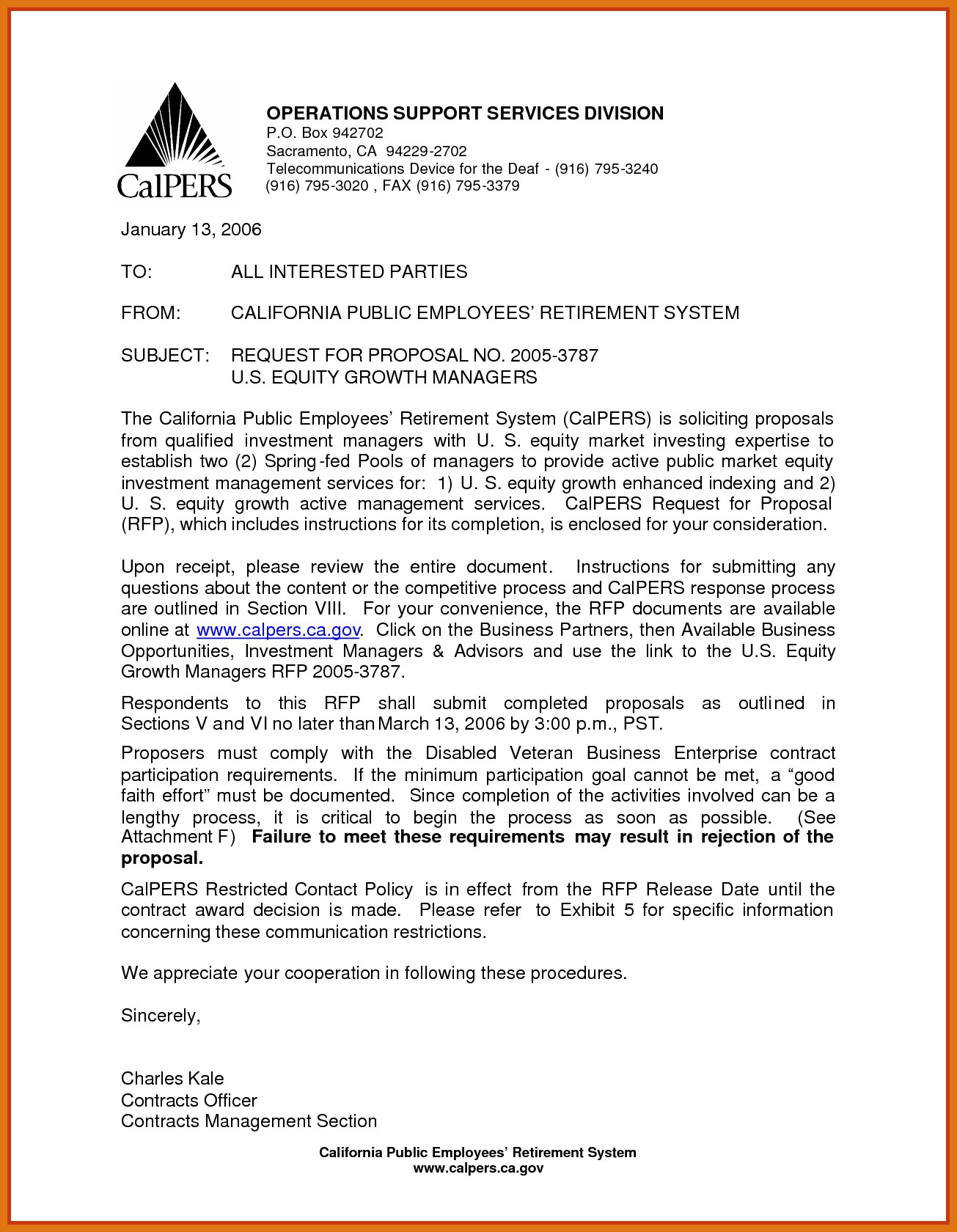 Rfp Award Letter Template - format for Business Response Letter Inspirationa Rfp Response Sample