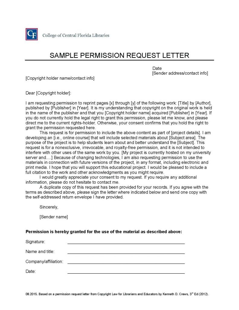 Copyright Permission Letter Template - format Permission Granted Letter Refrence Example Letter Request