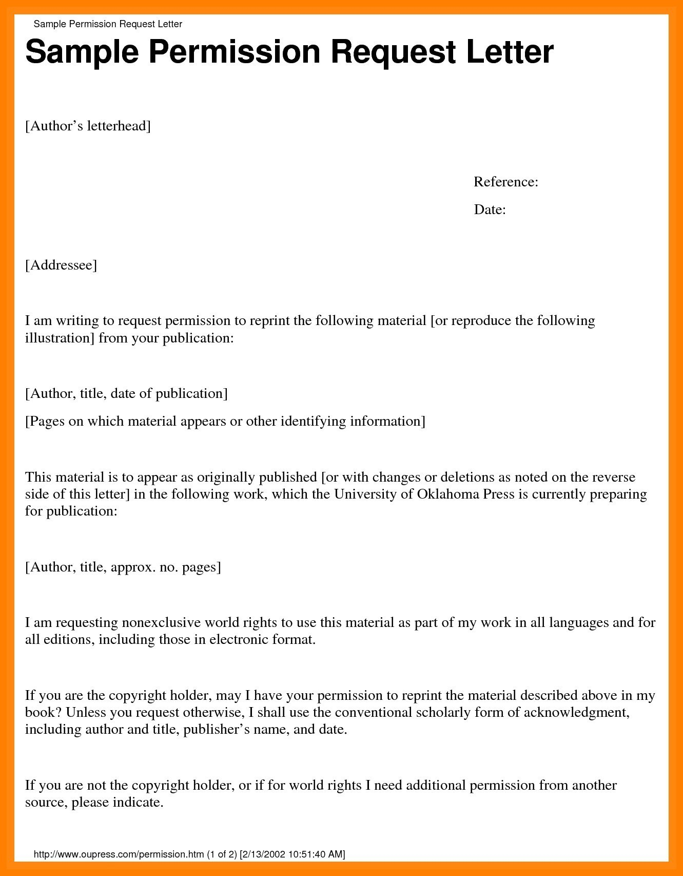 Copyright Permission Letter Template Examples Letter Template
