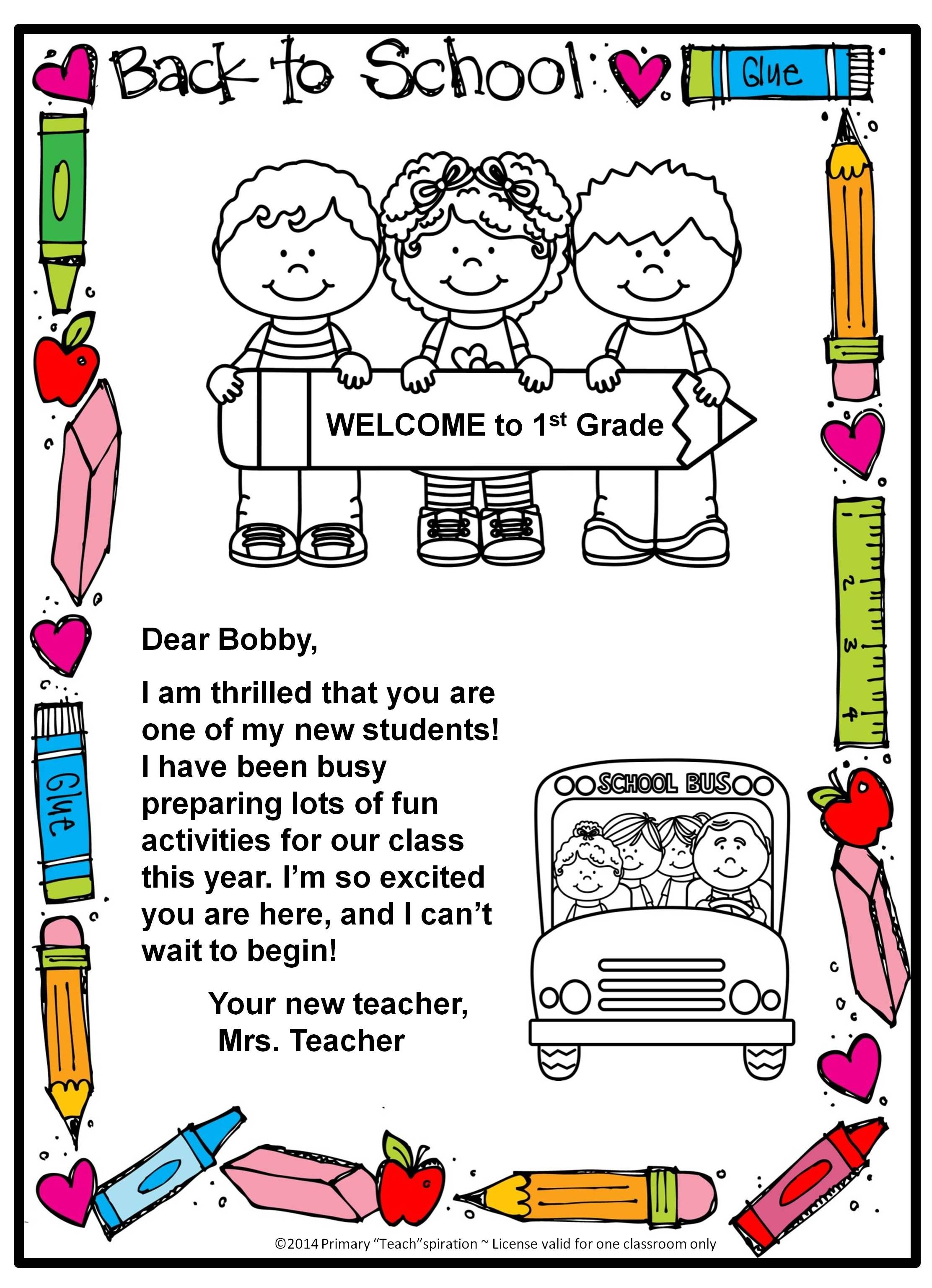 Kindergarten Welcome Letter Template - Free Back to School Wel E Letter and Postcard Editable
