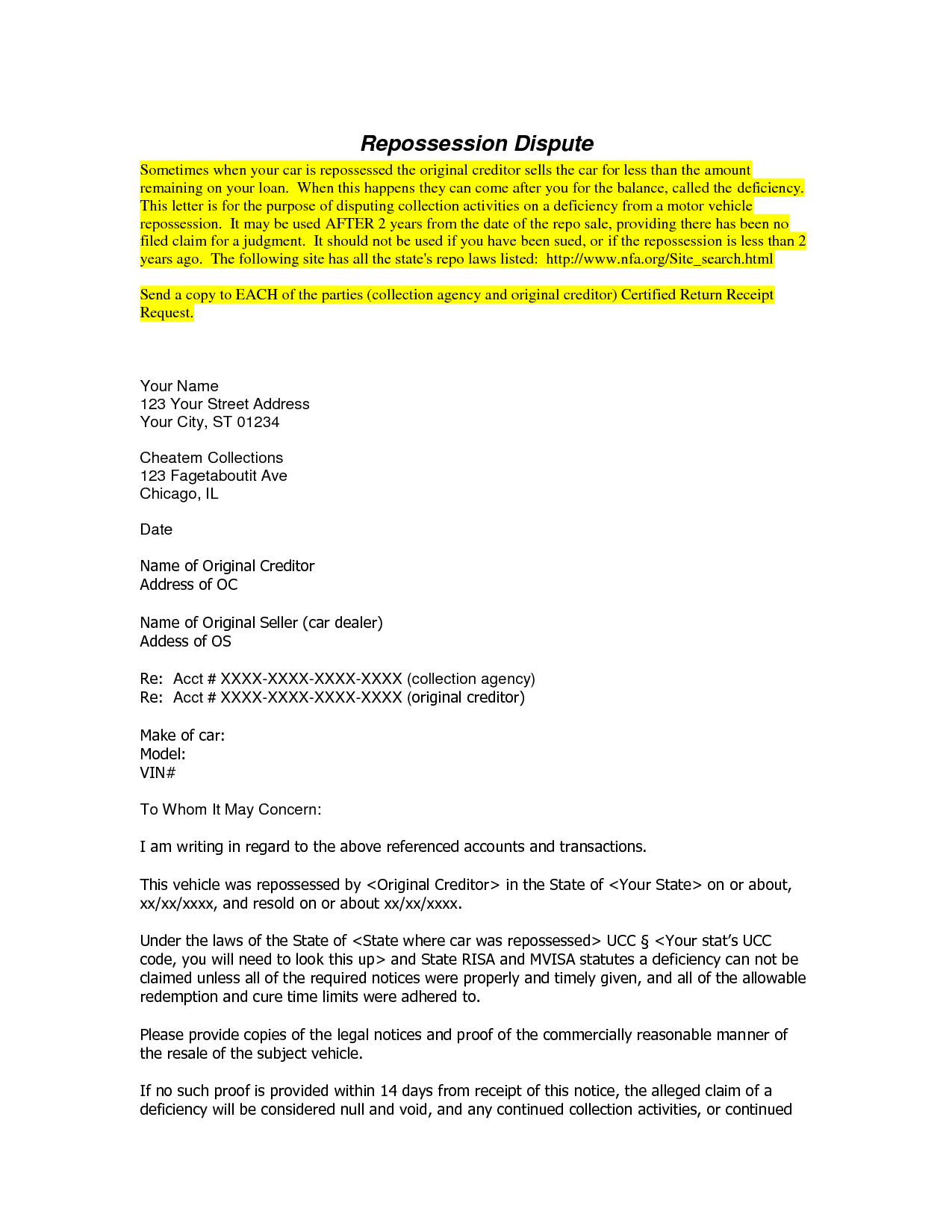 Repossession Dispute Letter Template - Free Cover Letter Templates Repossession Dispute Letter