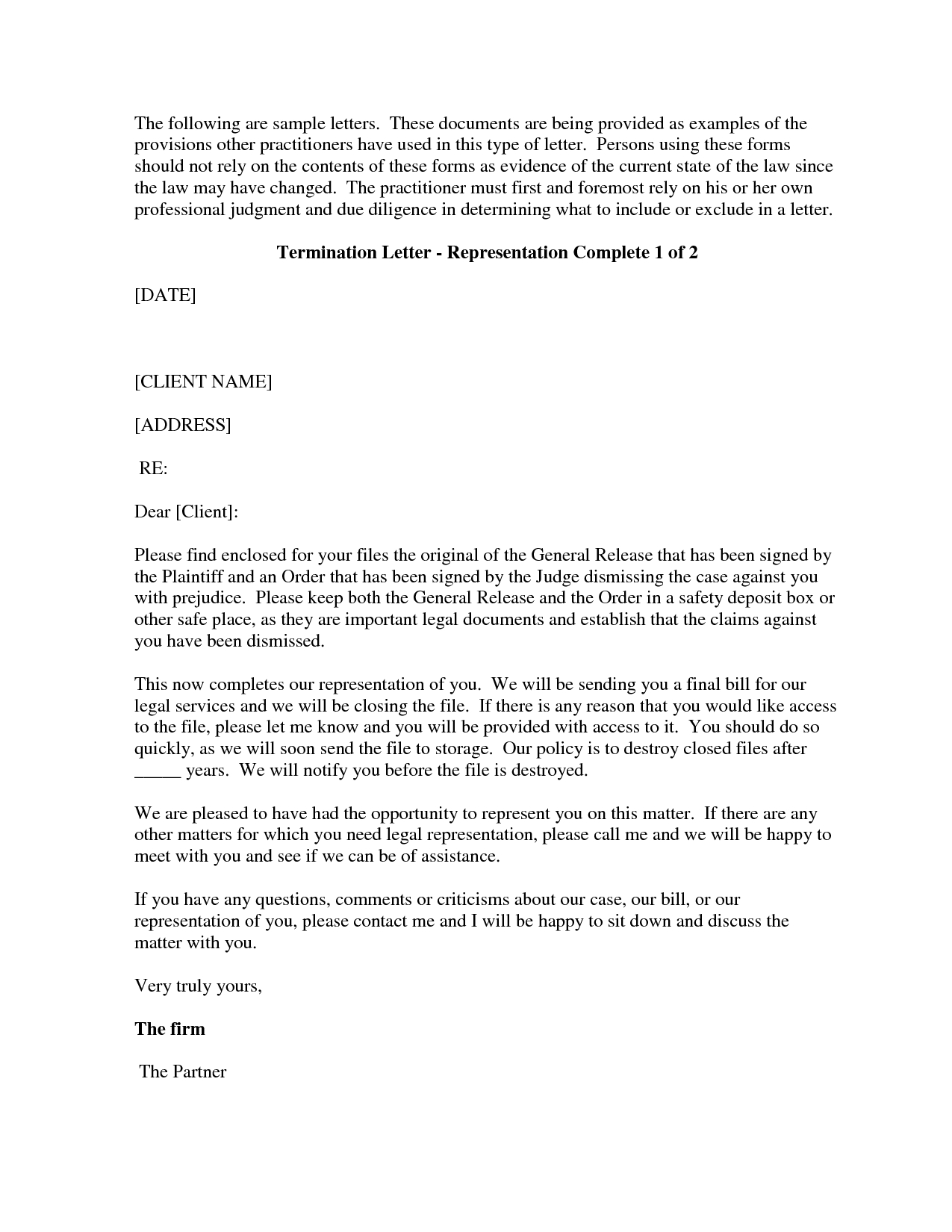 Client Termination Letter Template - Free Cover Letter Templates Sample attorney Termination Letter