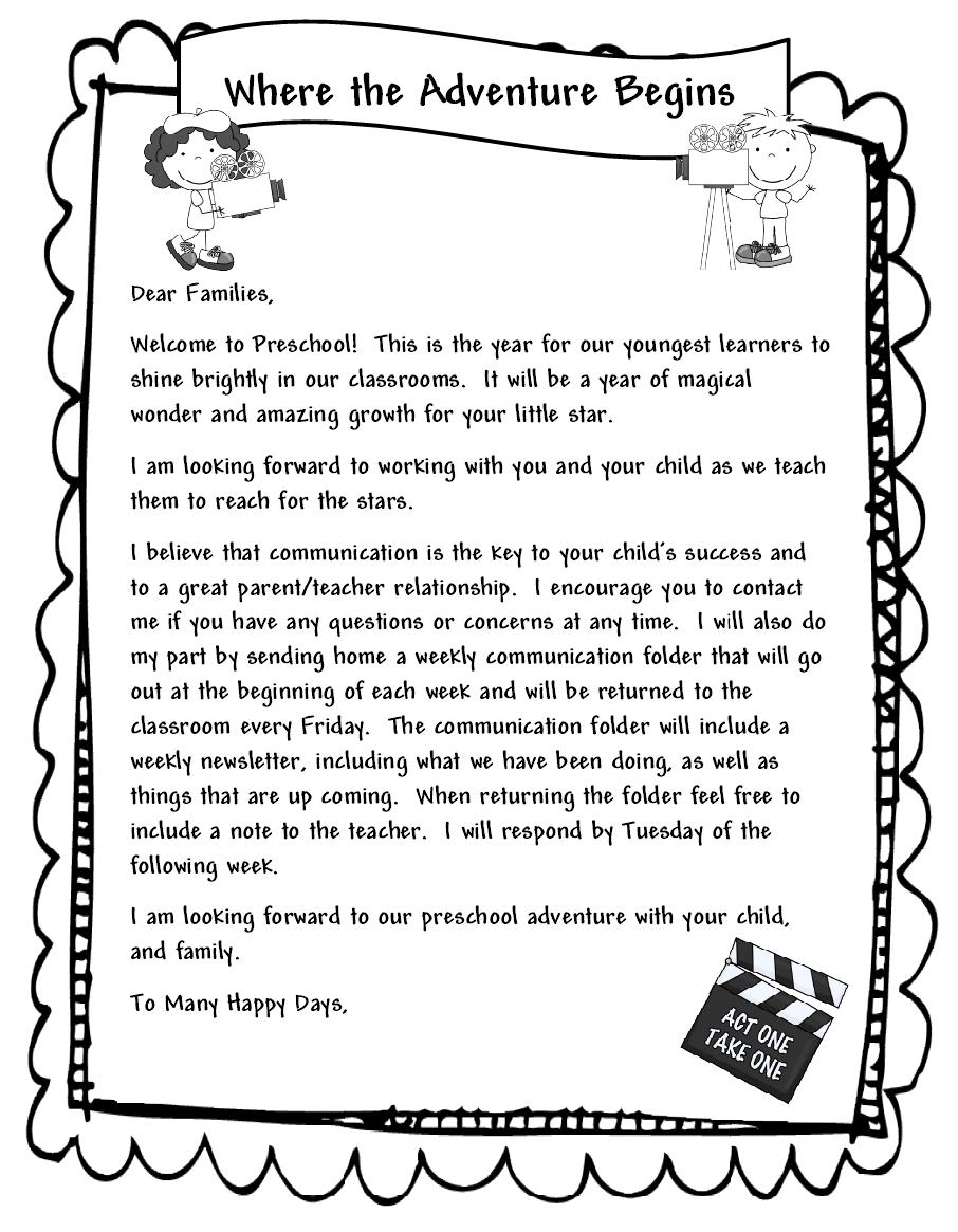 Kindergarten Welcome Letter Template - Free Cover Letter Templates Teacher Letter to Parents