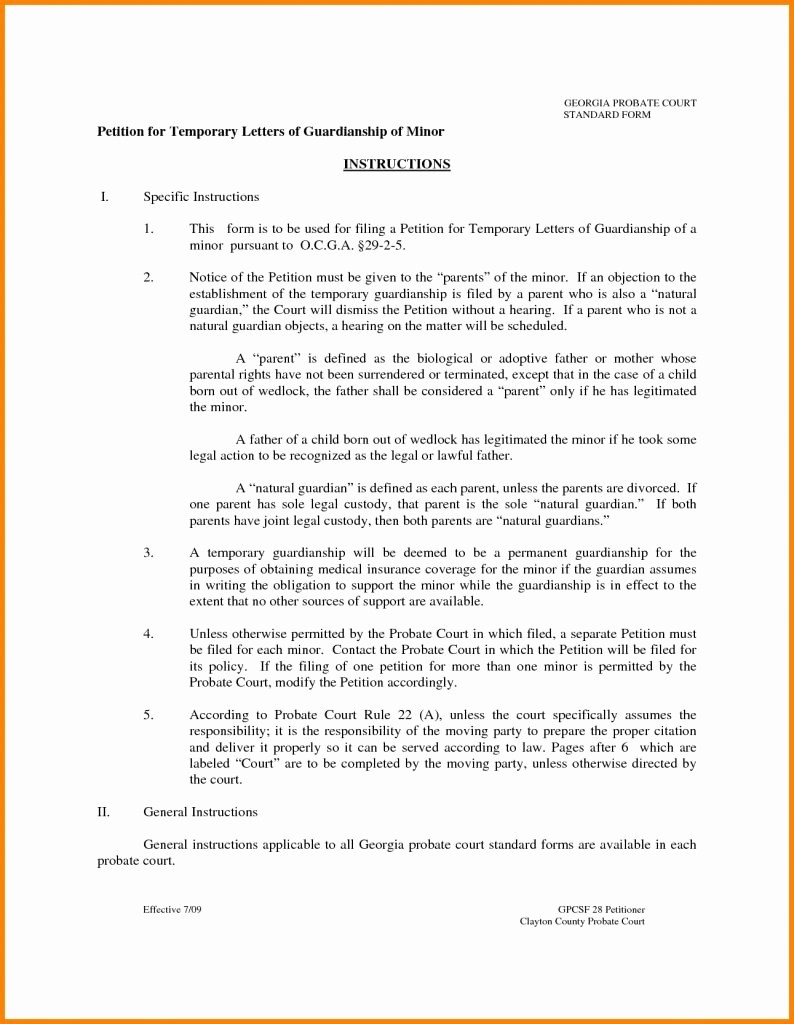 Legal Guardianship Letter Template - Free Cover Letter Templates Temporary Guardianship Letter