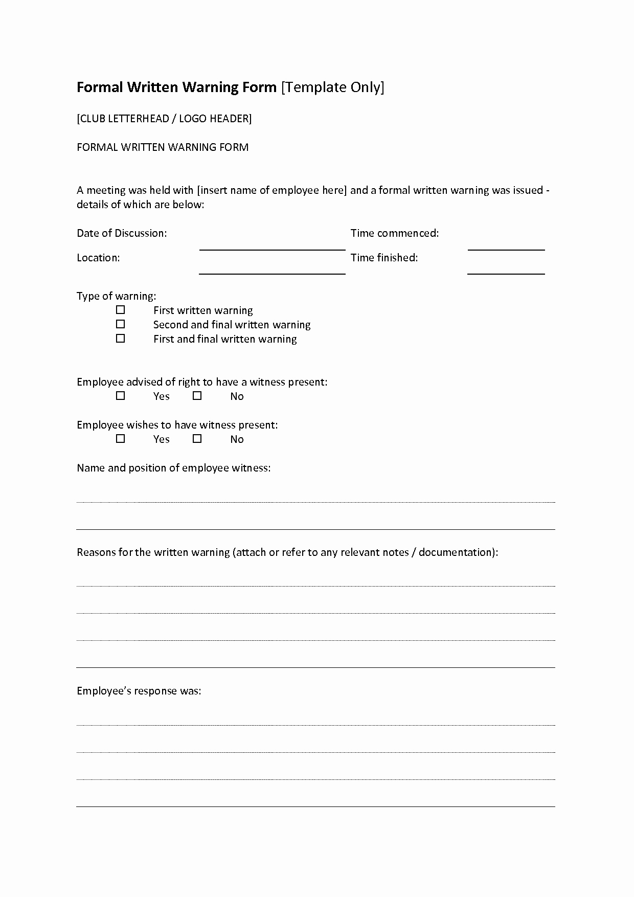 Verbal Warning Letter Template - Free Employee Disciplinary forms Inspirational Inspirationa Verbal