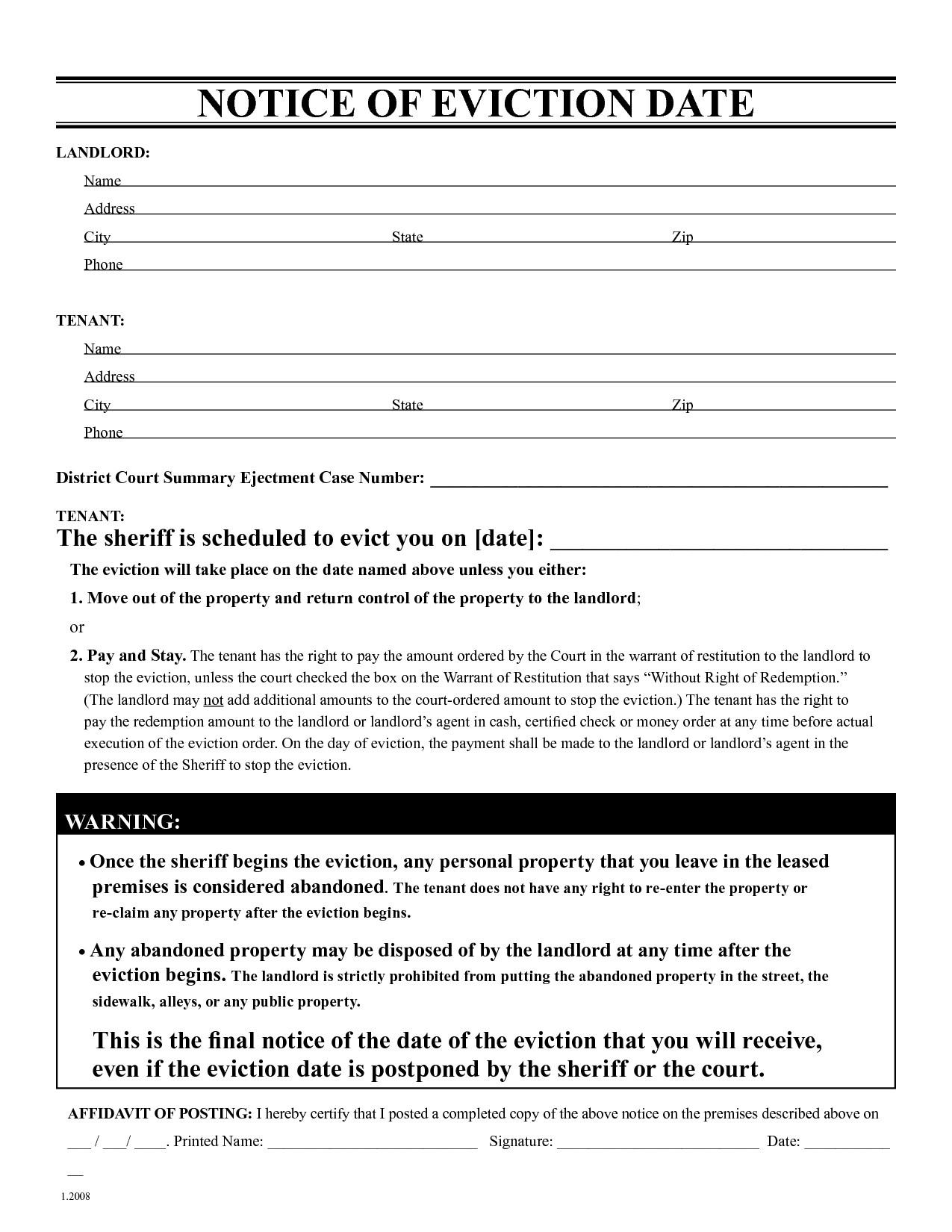 Eviction Letter Template Free - Free Eviction Notice form New Free Printable Eviction Notice