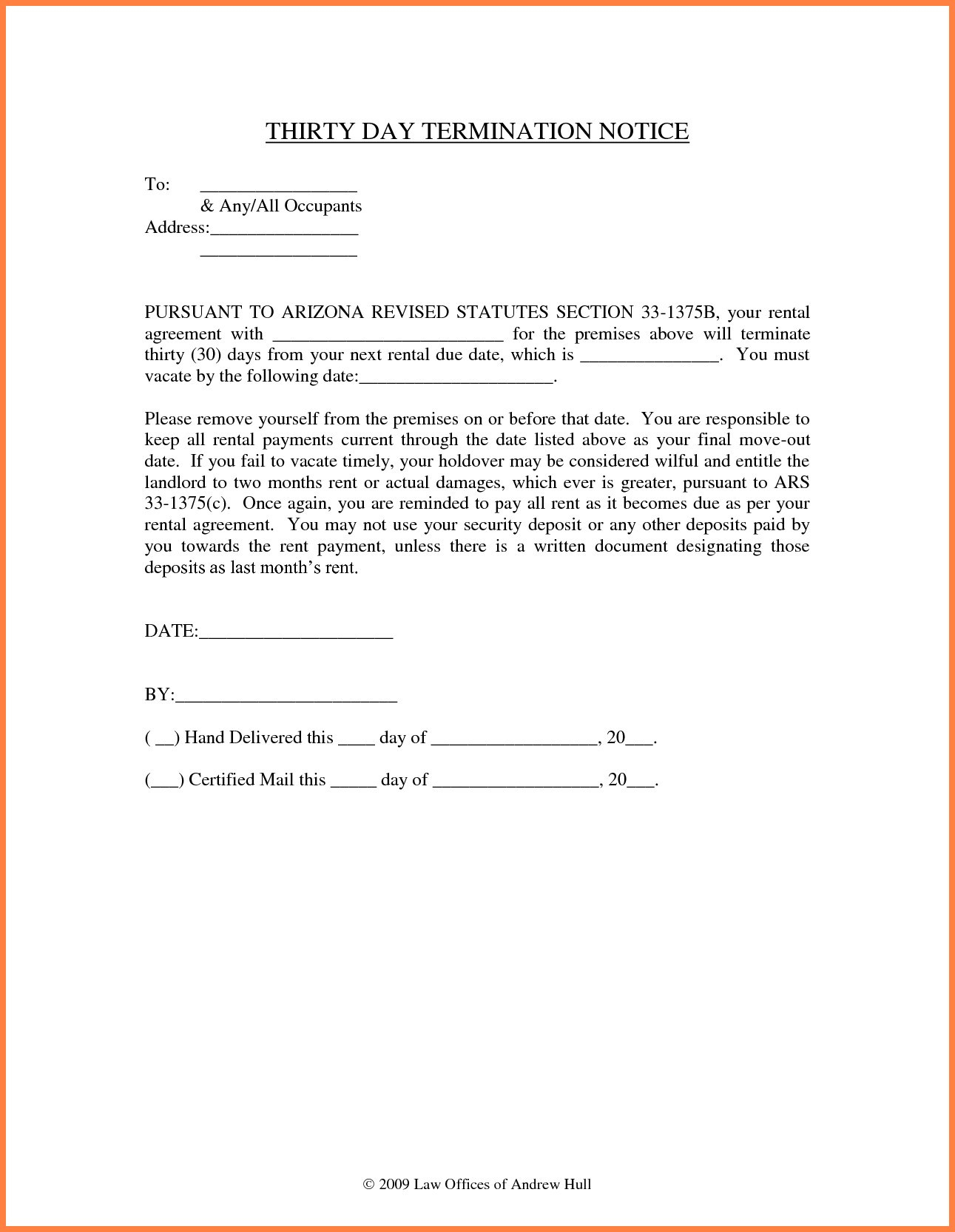 30 day notice to vacate letter to tenant template examples