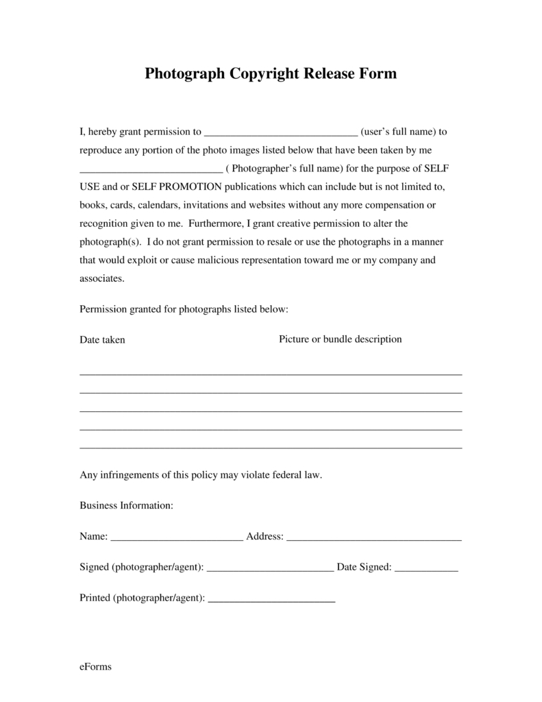 Copyright Permission Letter Template - Free Generic Copyright Release form Pdf