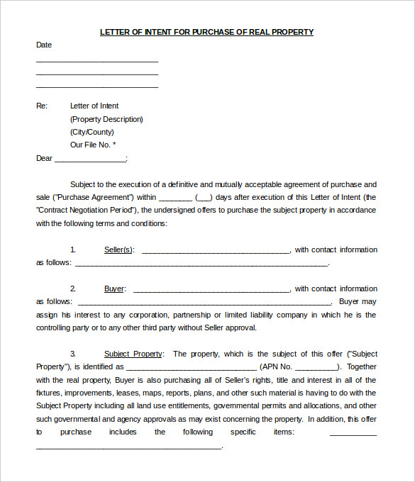 Letter Of Intent to Purchase Equipment Template - Free Intent Letter Templates – 22 Free Word Pdf