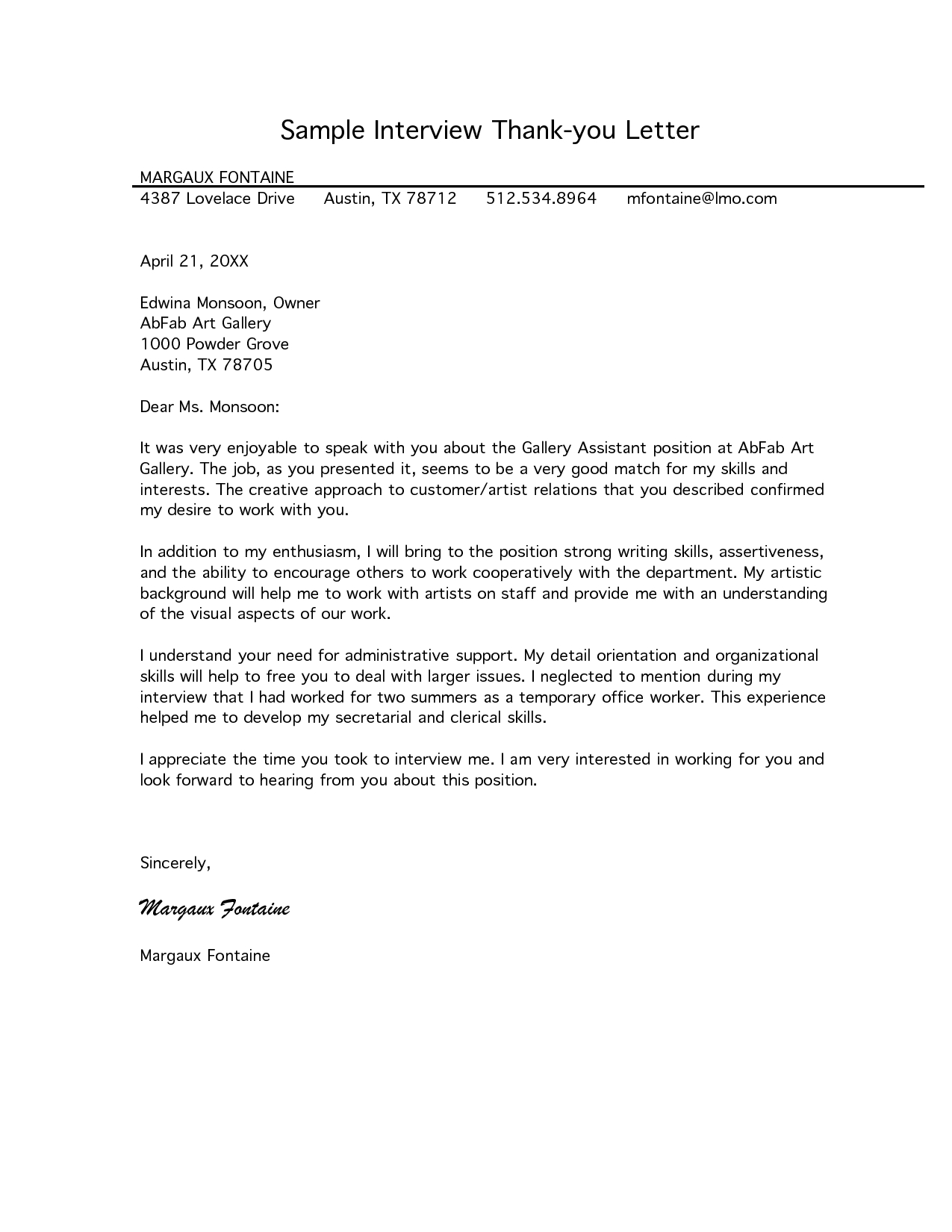 Letter Of Interest Template Pdf - Free Letter Of Interest Templates