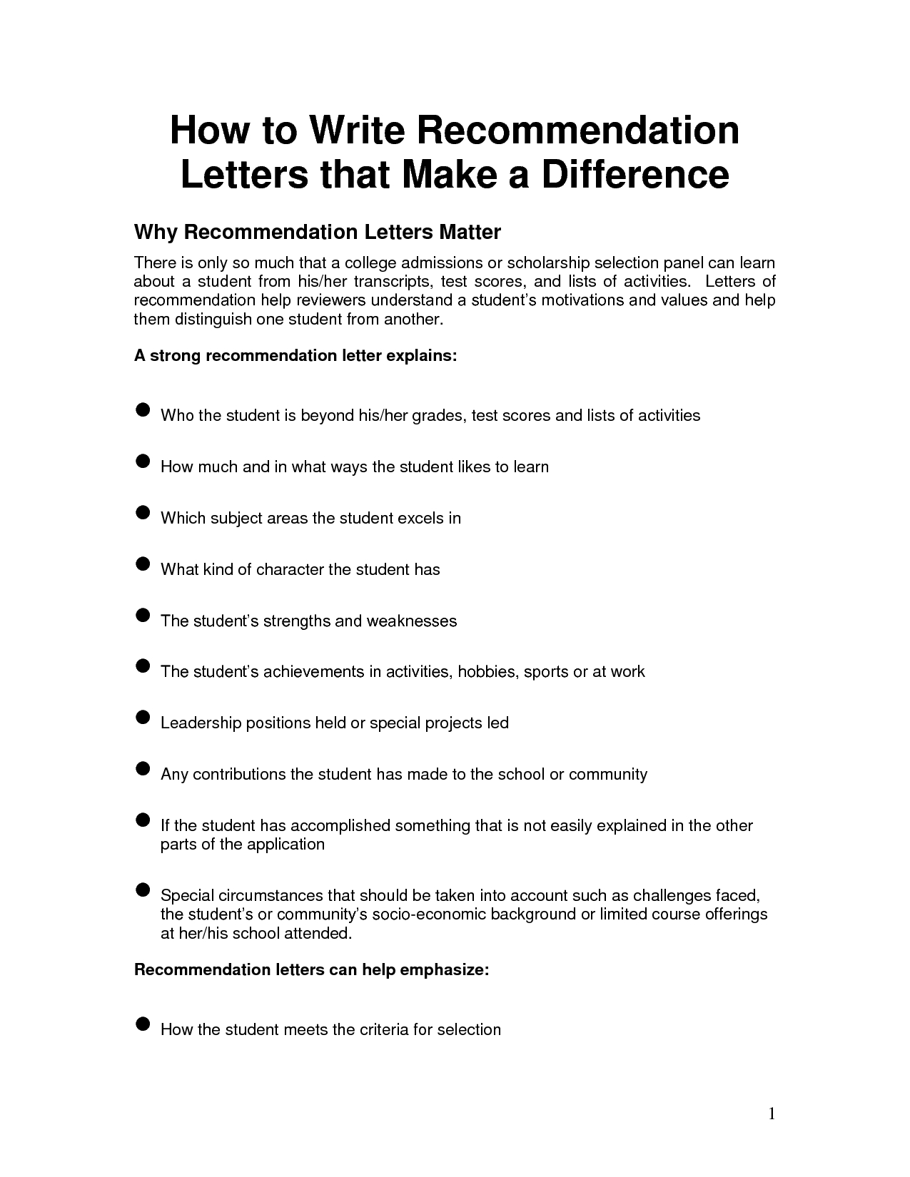 Free Scholarship Recommendation Letter Template - Free Letter Of Reference Template