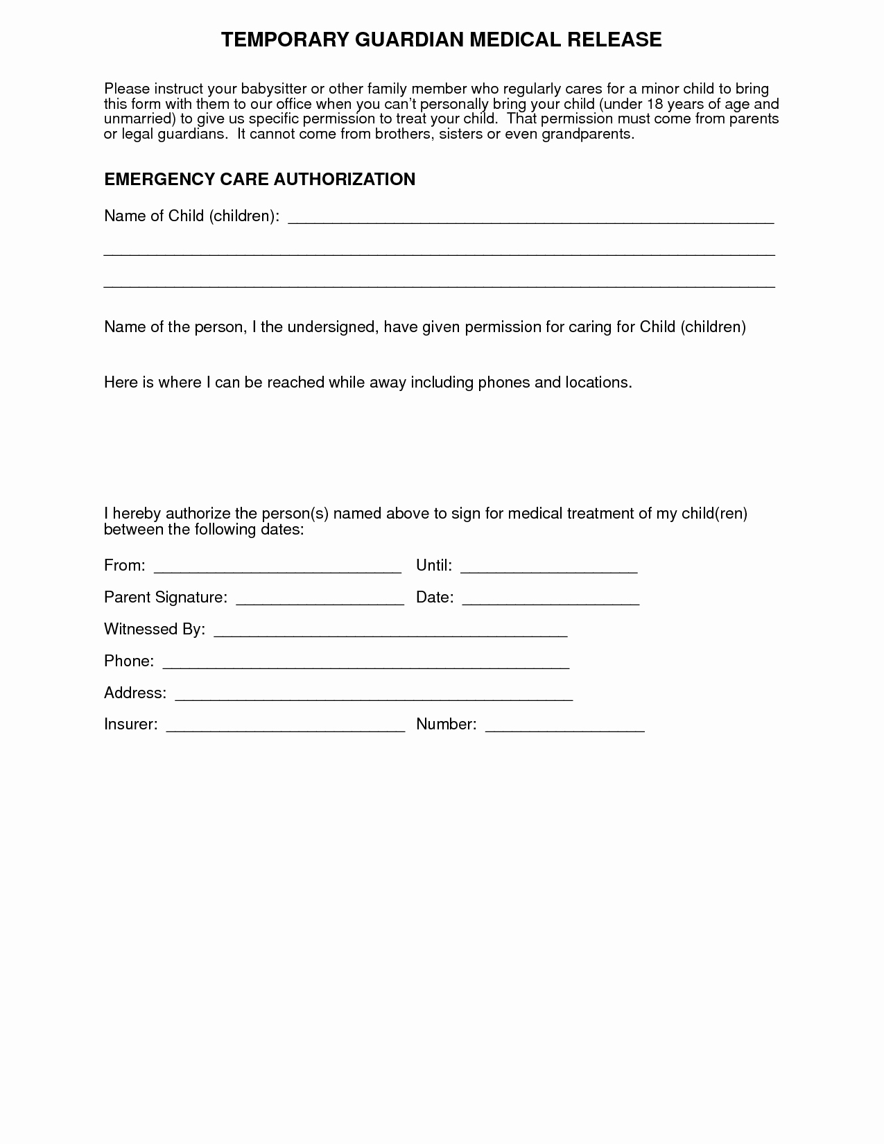 Child Care Authorization Letter Template - Free Medical Consent form Medical Release form Best Die Besten 25