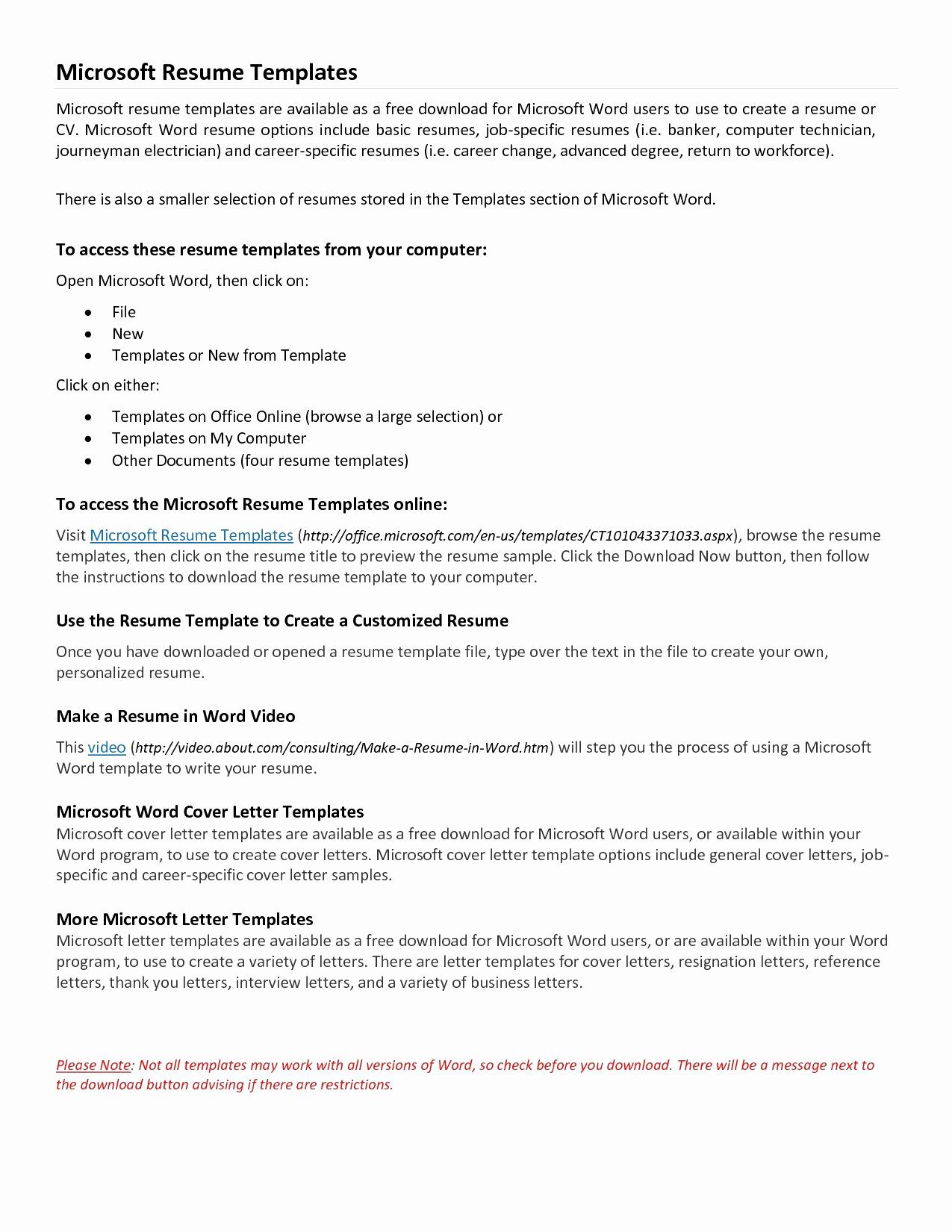 Microsoft Word Resume Cover Letter Template - Free Microsoft Resume Templates New Microsoft Word Resume Sample