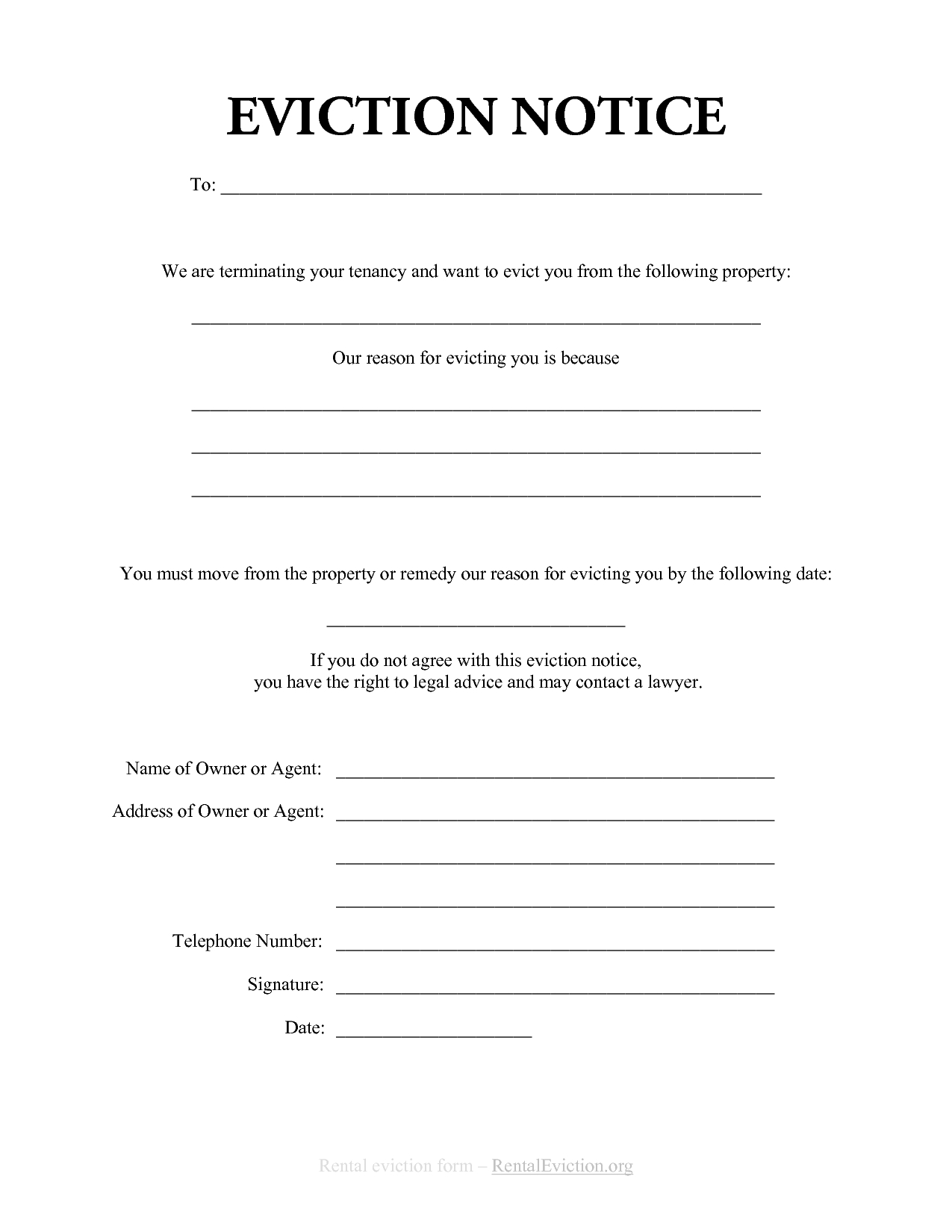 Eviction Letter Template - Free Print Out Eviction Notices Free Rental Eviction Notice