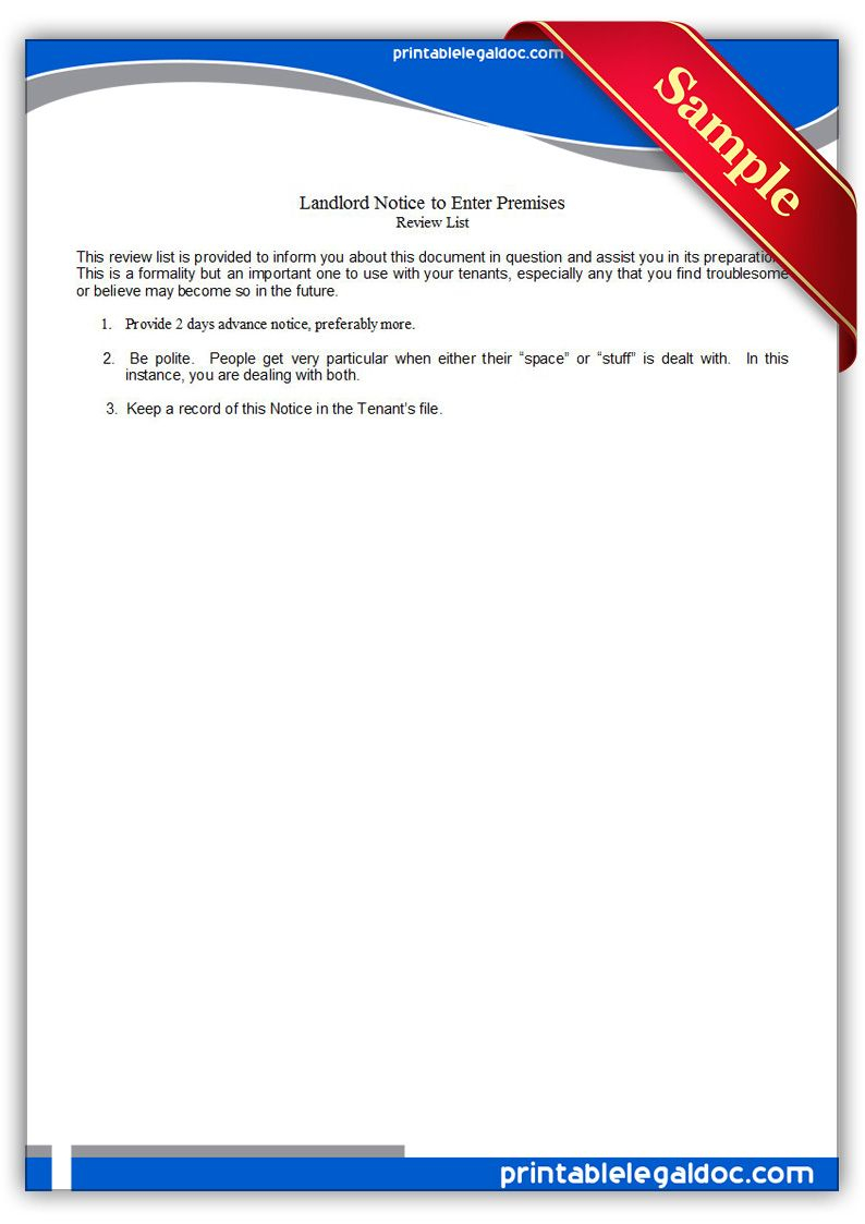 Unauthorized Tenant Letter Template - Free Printable Landlord Notice to Enter Premises Legal forms