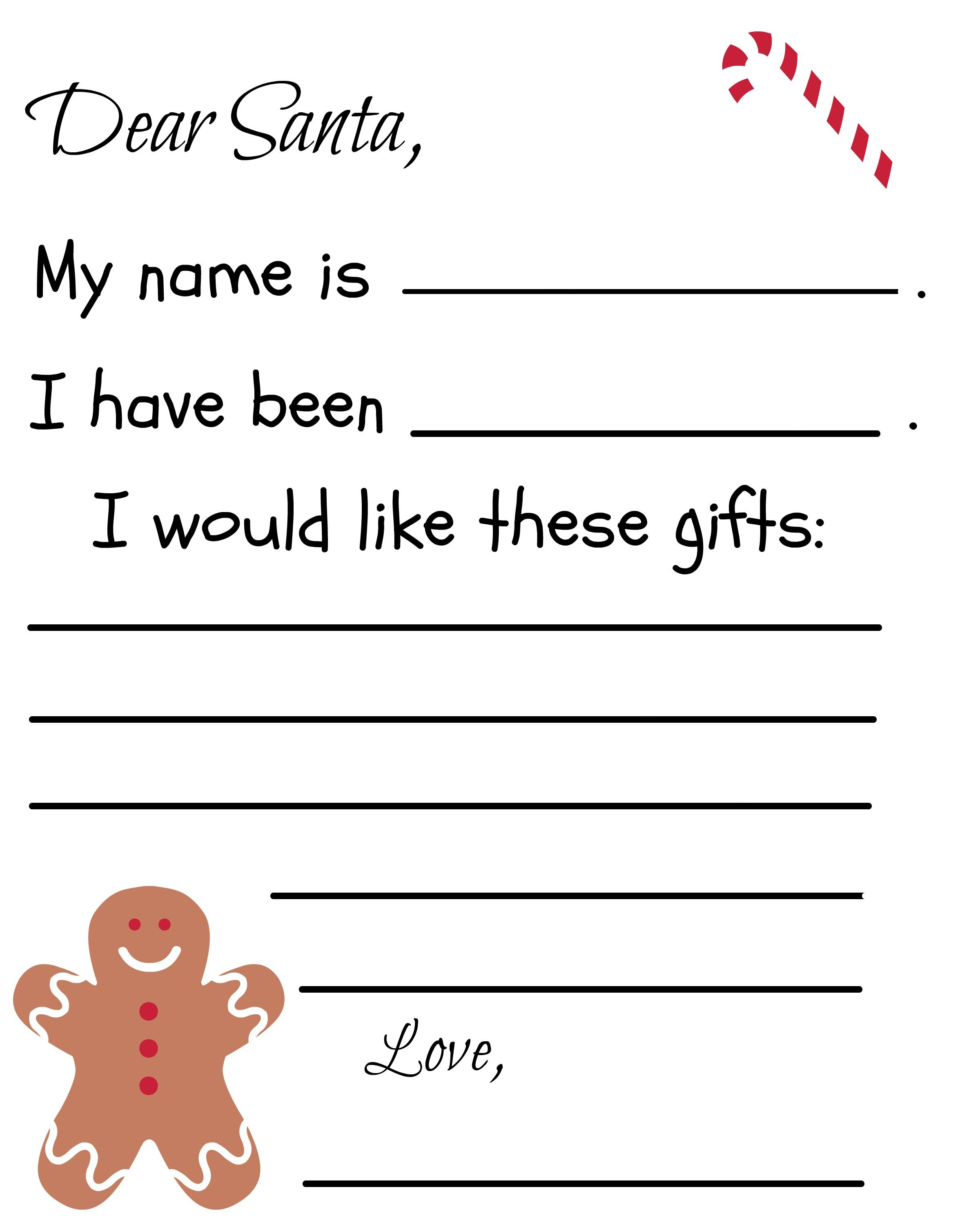 Dear Santa Letter Template Free - Free Printable Santa Letter Template