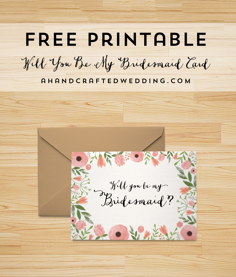Will You Be My Bridesmaid Letter Template - Free Printable Will You Be My Bridesmaid Card Pinterest