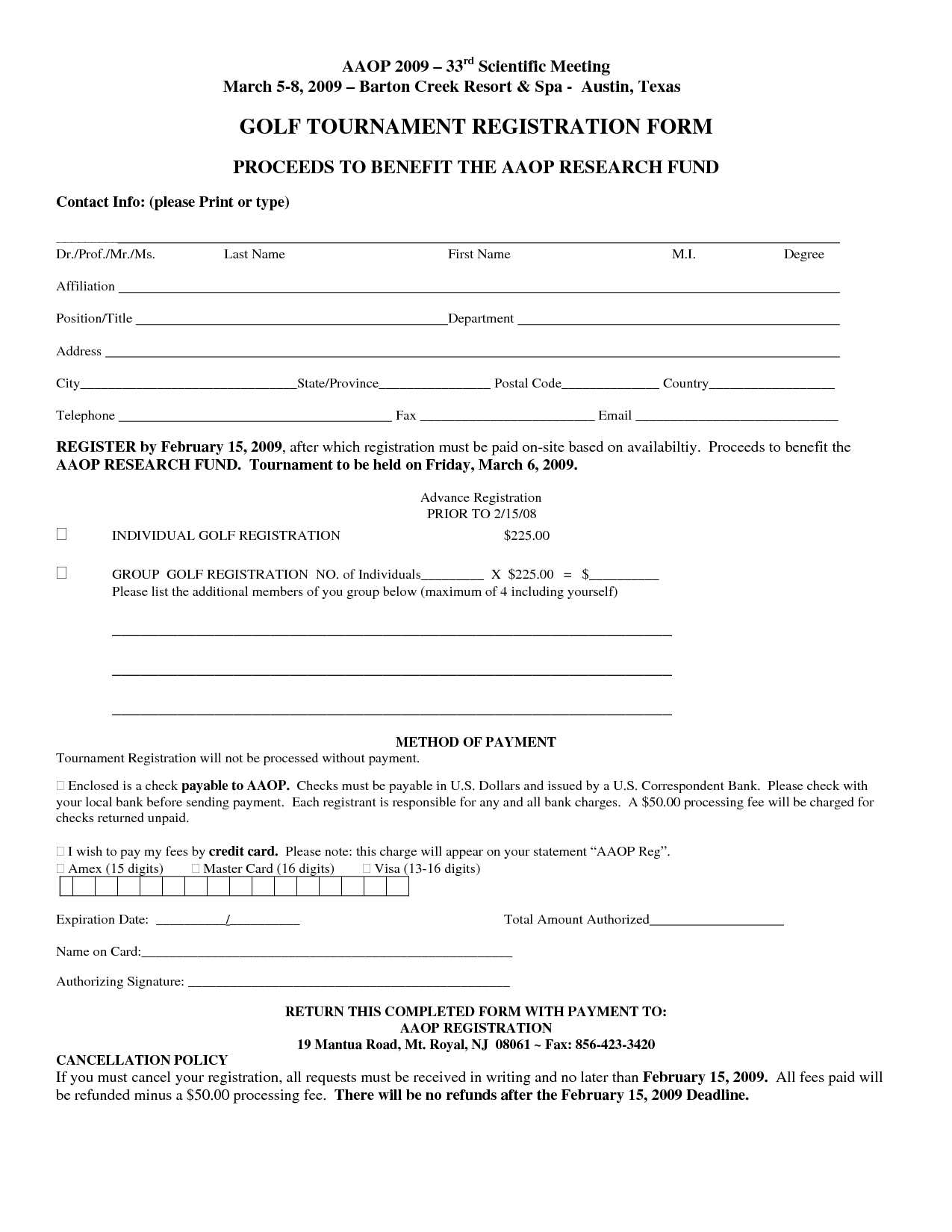 Golf tournament Donation Letter Template - Free Registration form Template