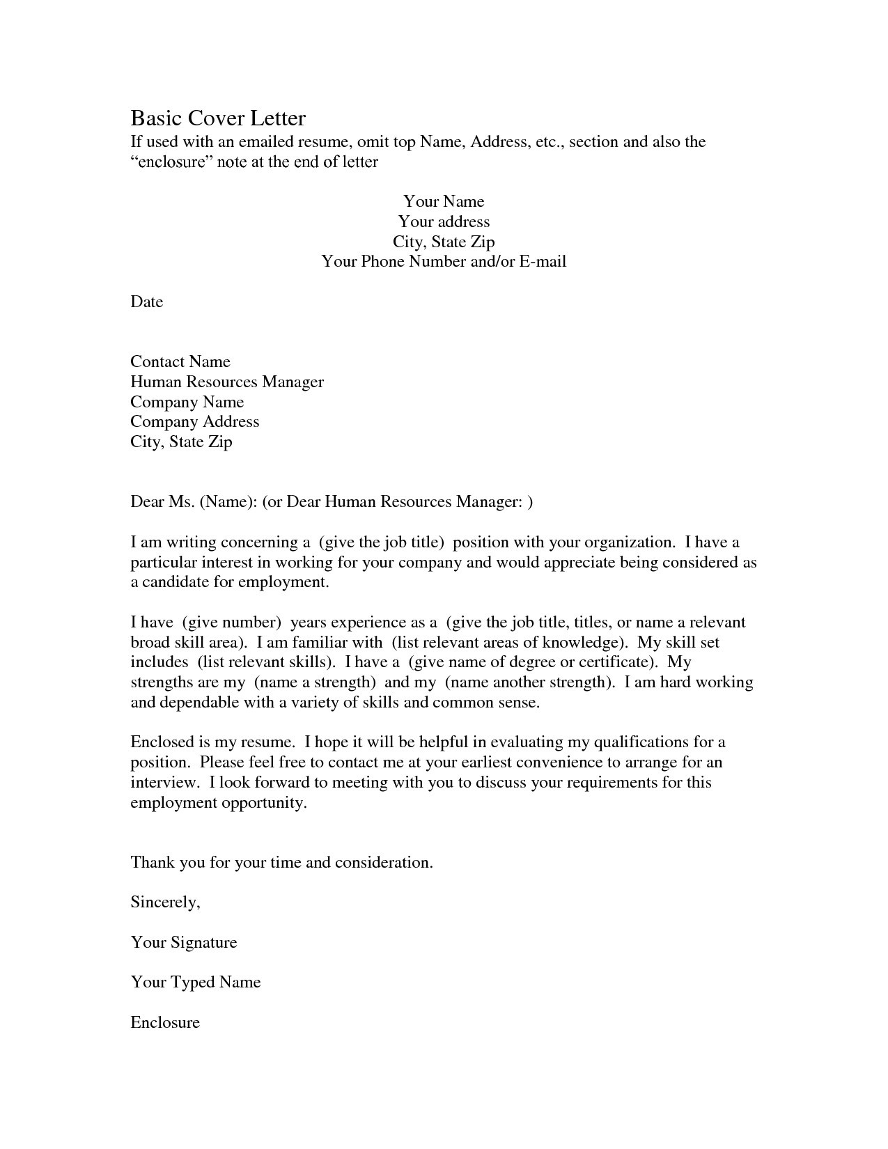 Free Job Cover Letter Template - Free Resume Cover Letter format S