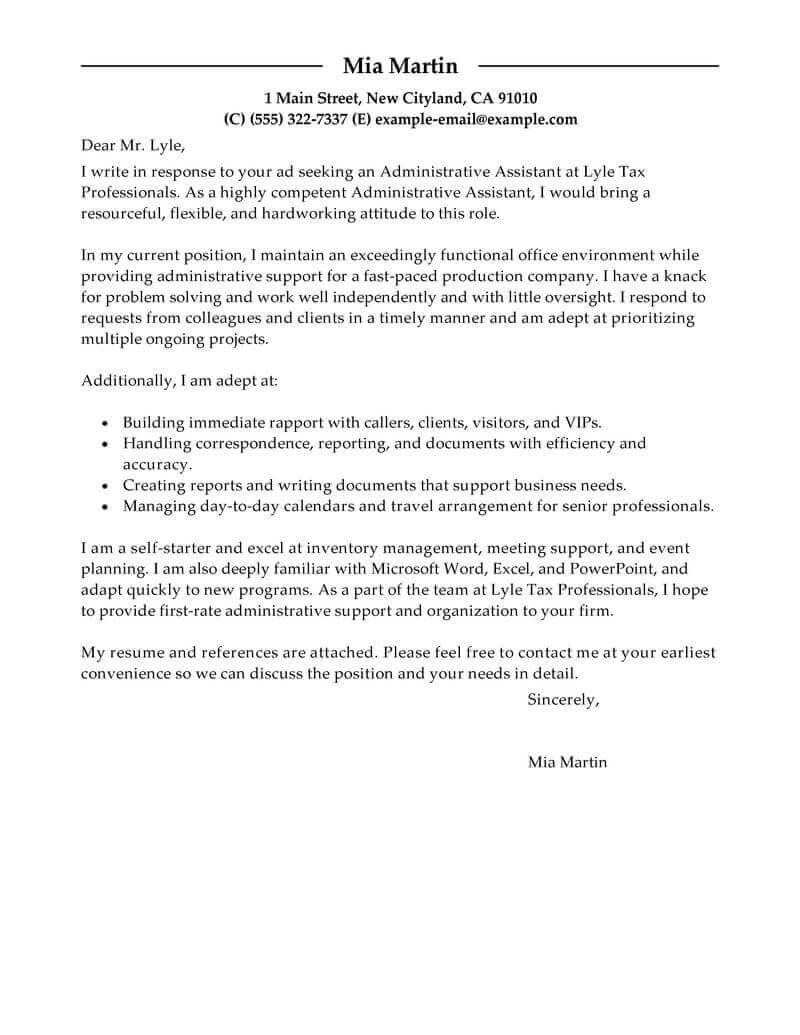 executive assistant cover letter template collection letter
