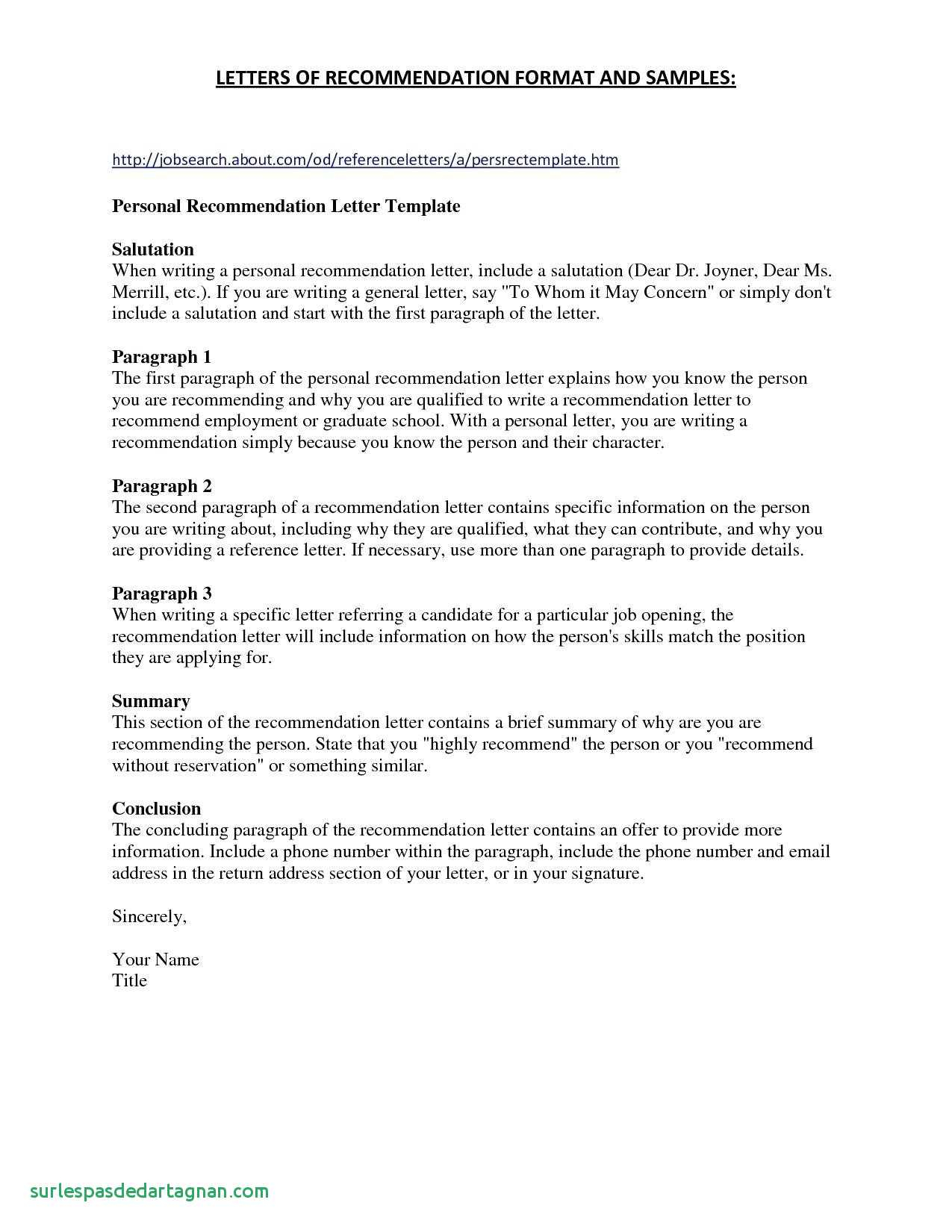 sample letter of personal recommendation