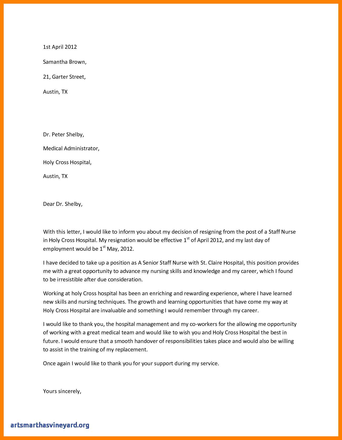 Letter Of Resignation Nursing Template - Fresh Nursing Resignation Letter Ideas Free Web Templates
