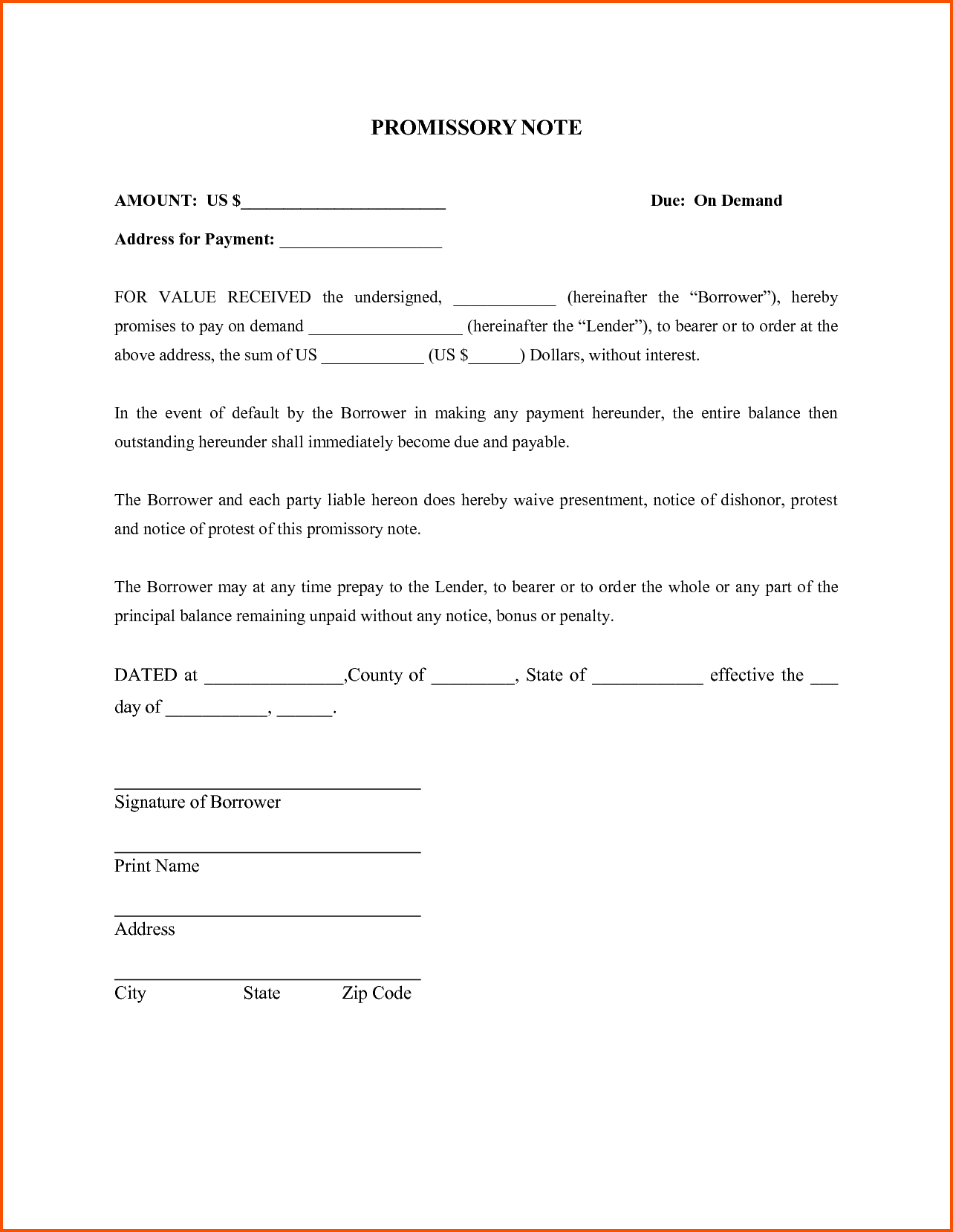 Promissory Letter Template - Fresh Promissory Note Template Word Your Template Collection
