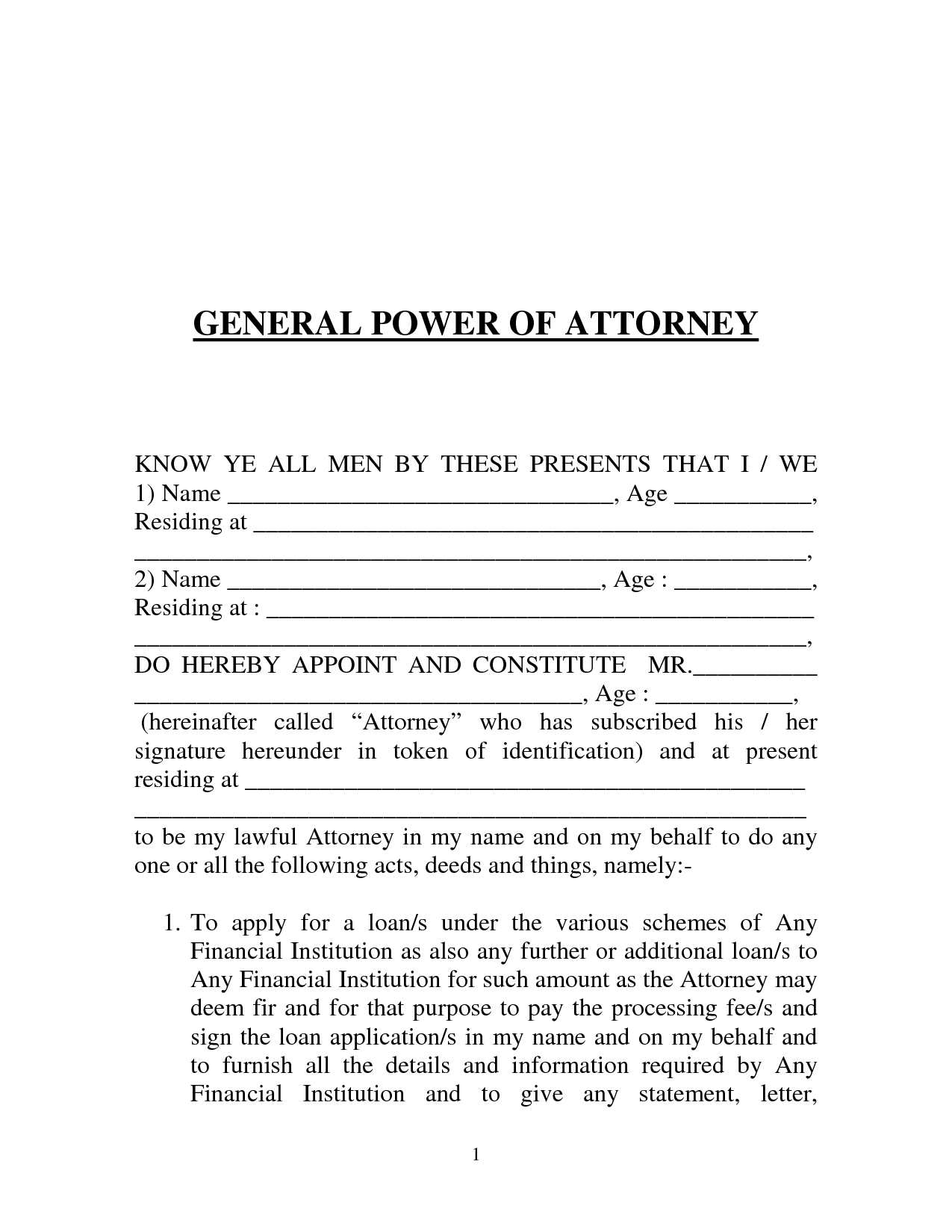 General Power Of attorney Letter Template - General Power attorney form India by Prettytulips Letter Of