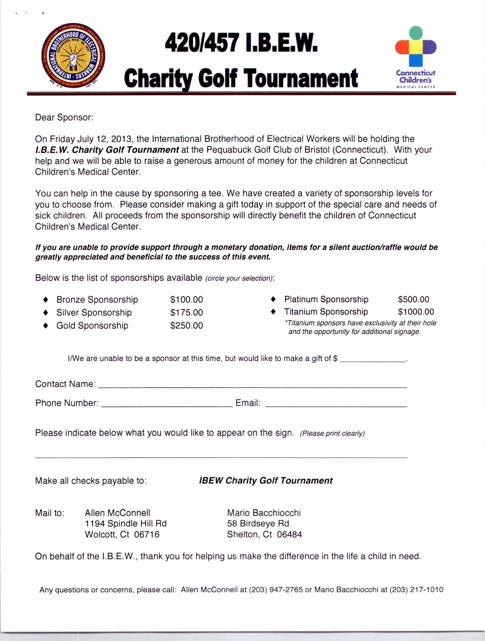 Golf tournament Sponsorship Letter Template - Golf tournament Sponsorship